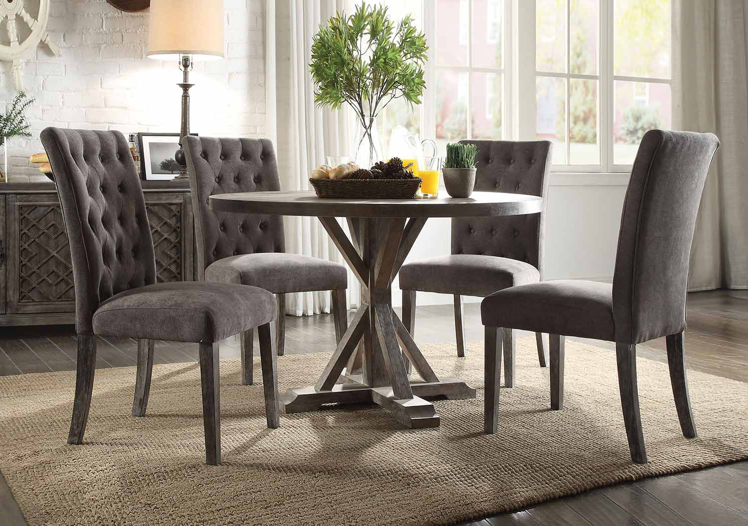 Acme Carmelina Dining Set - Weathered Gray Oak
