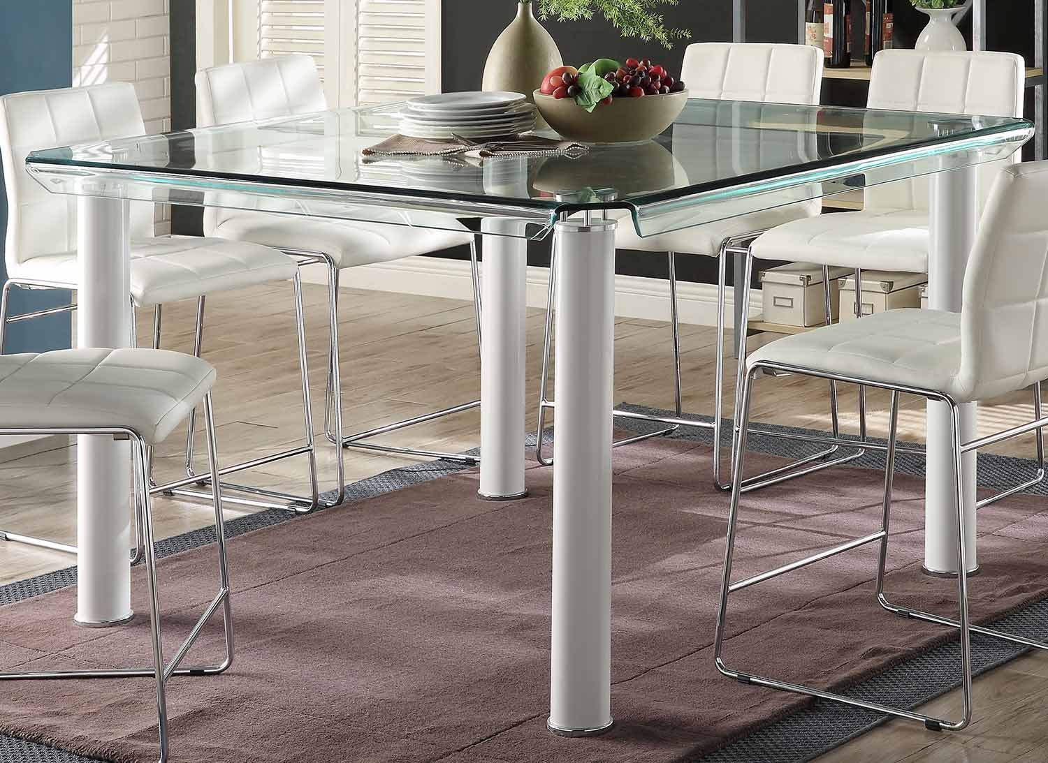 Acme Gordie Counter Height Table - White/Clear Glass