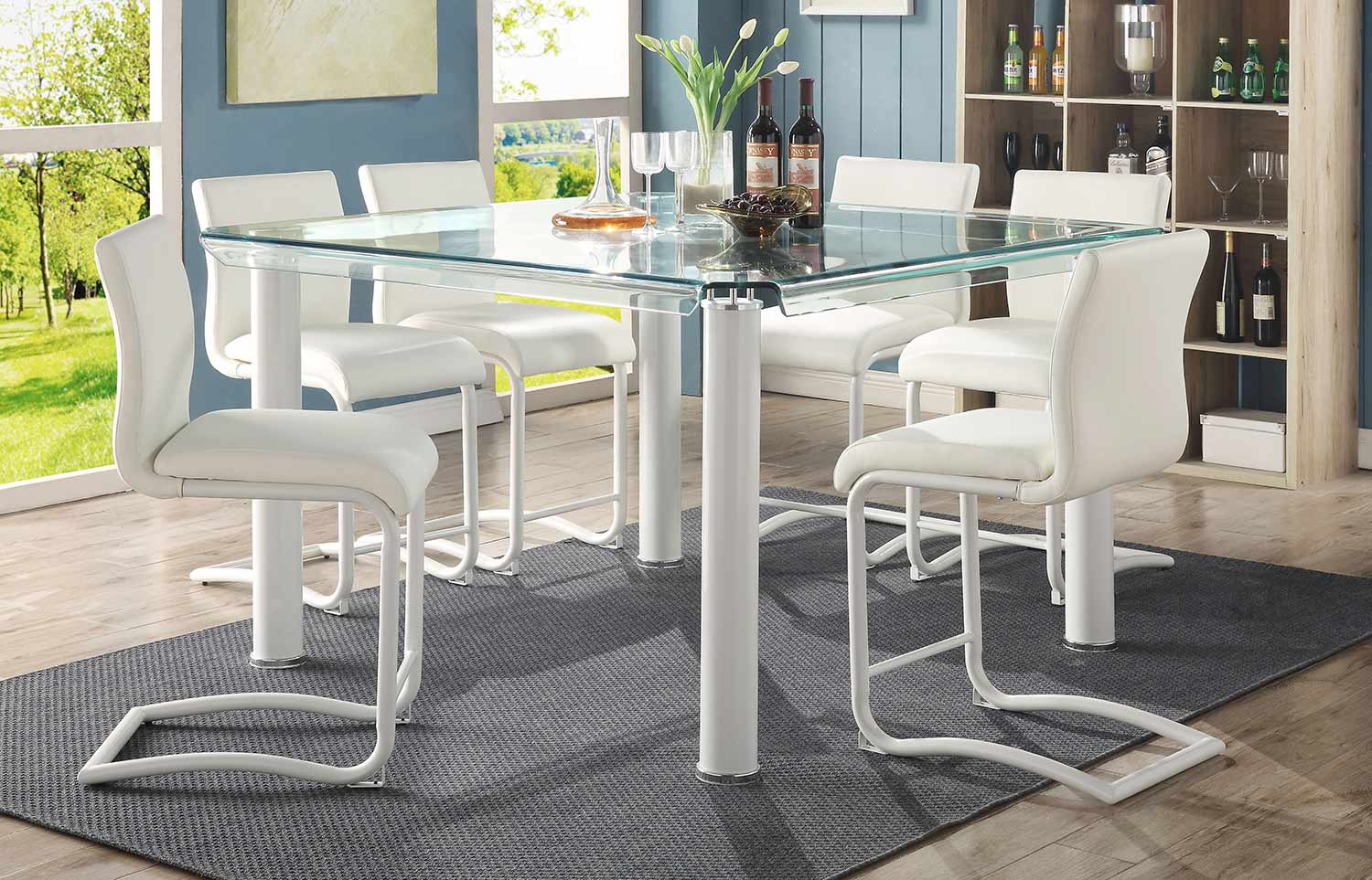 Acme Gordie C Metal Shape Counter Height Dining Set - White/Clear Glass