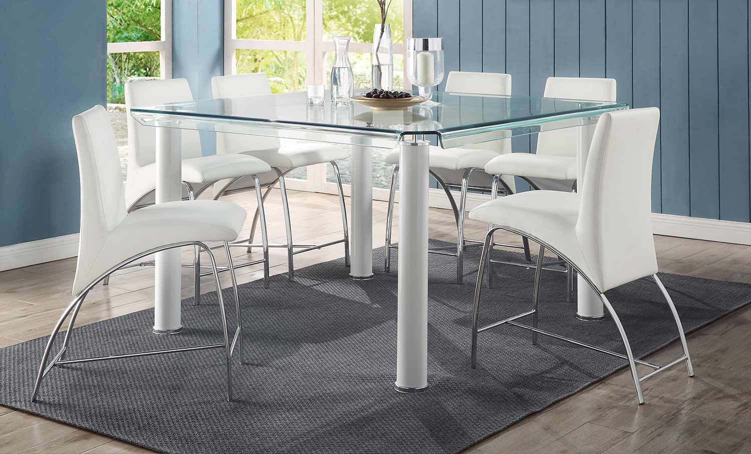 Acme Gordie Curved Metal Shape Counter Height Dining Set - White/Clear Glass/Chrome