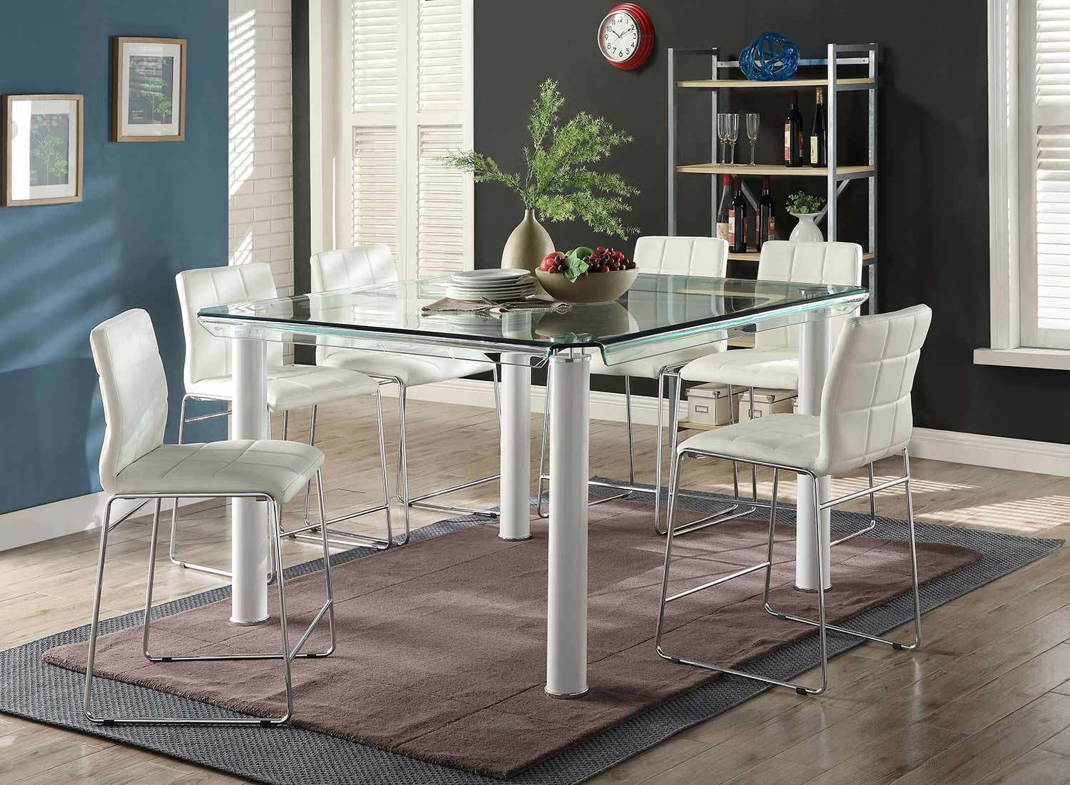 Acme Gordie Sled Metal Shape Counter Height Dining Set - White/Clear Glass/Chrome