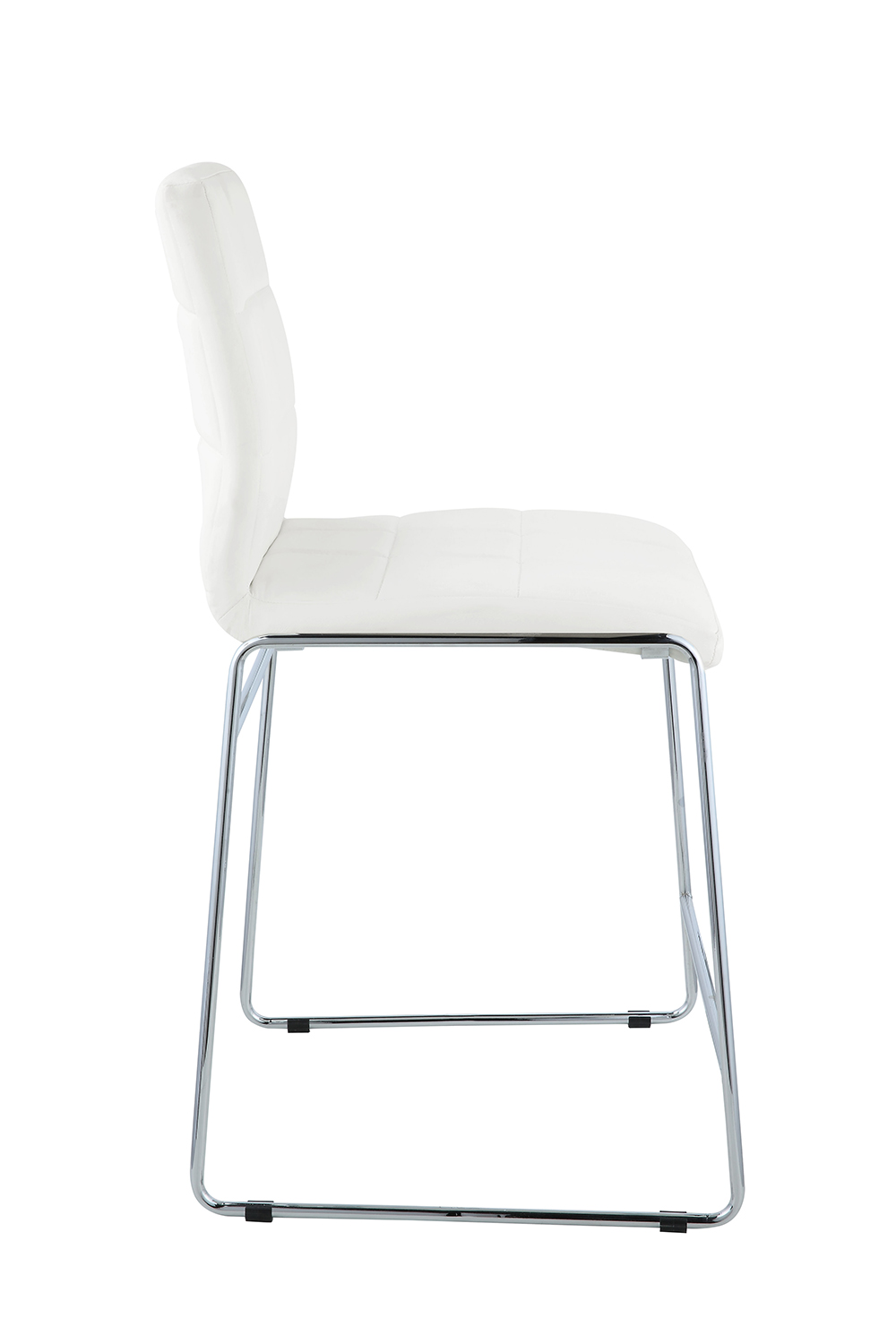 Acme Gordie Sled Metal Shape Counter Height Chair - White Vinyl/Chrome