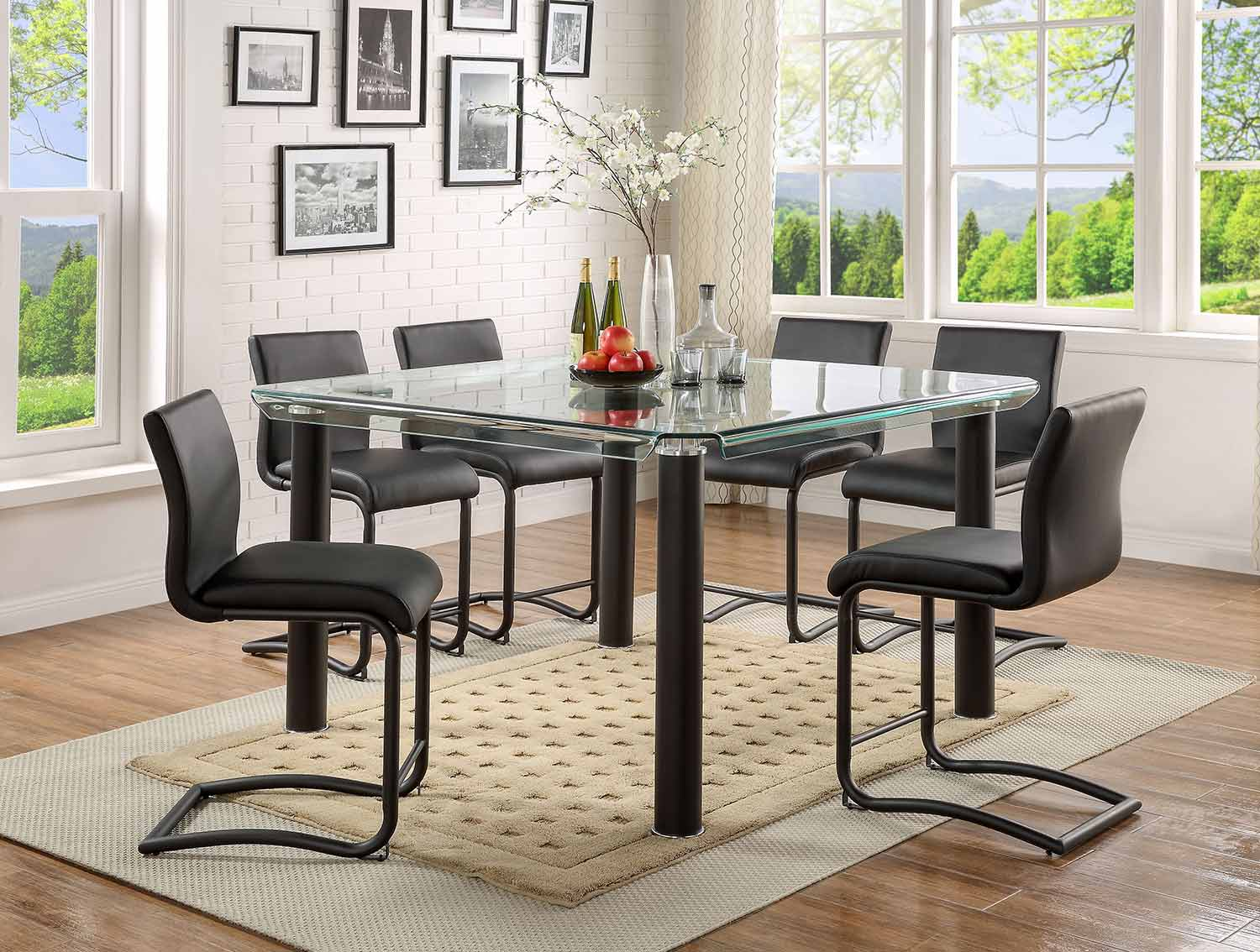 Acme Gordie C Metal Shape Counter Height Dining Set - Black/Clear Glass
