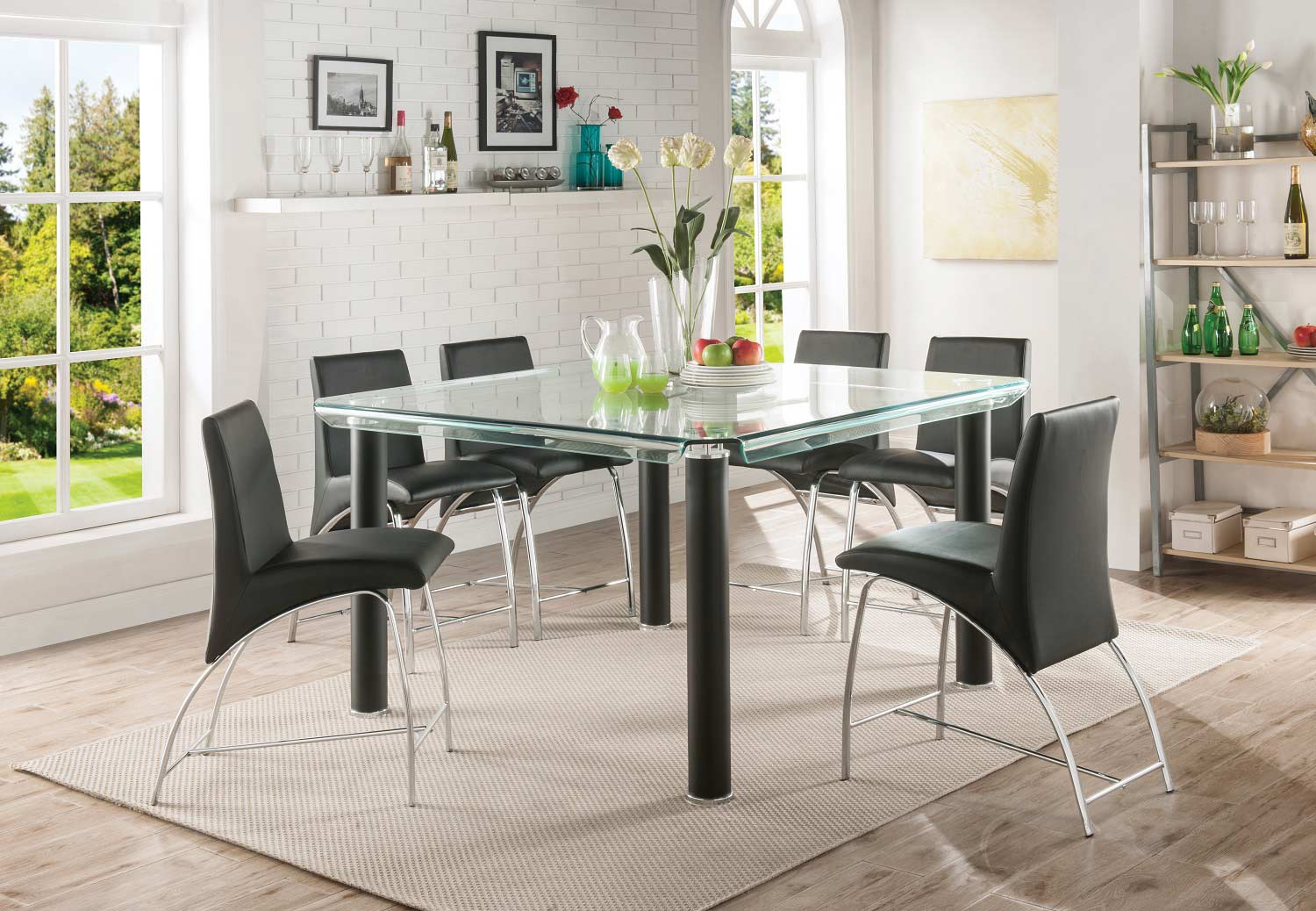 Acme Gordie Curved Metal Shape Counter Height Dining Set - Black/Clear Glass/Chrome