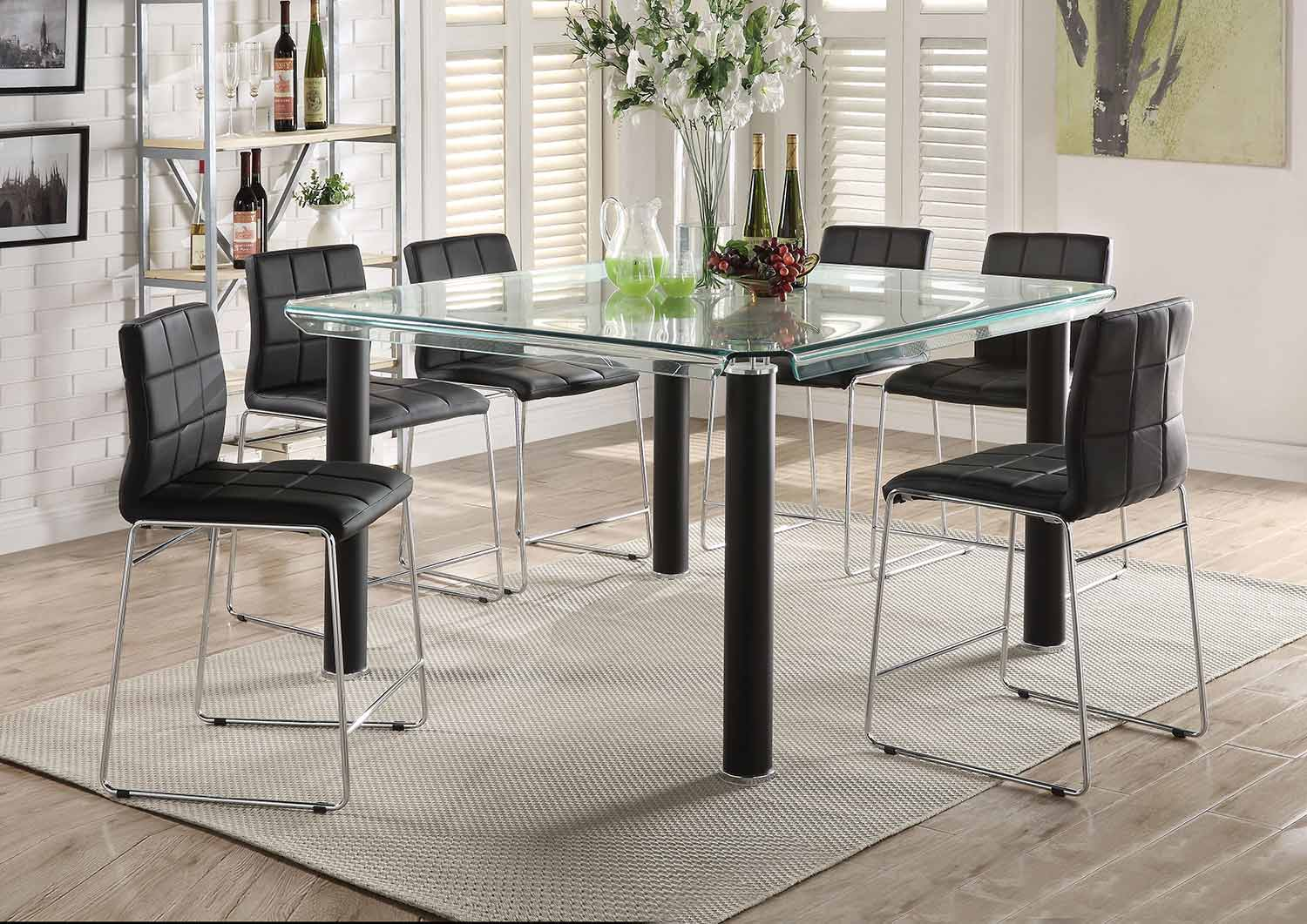 Acme Gordie Sled Metal Shape Counter Height Dining Set - Black/Clear Glass/Chrome