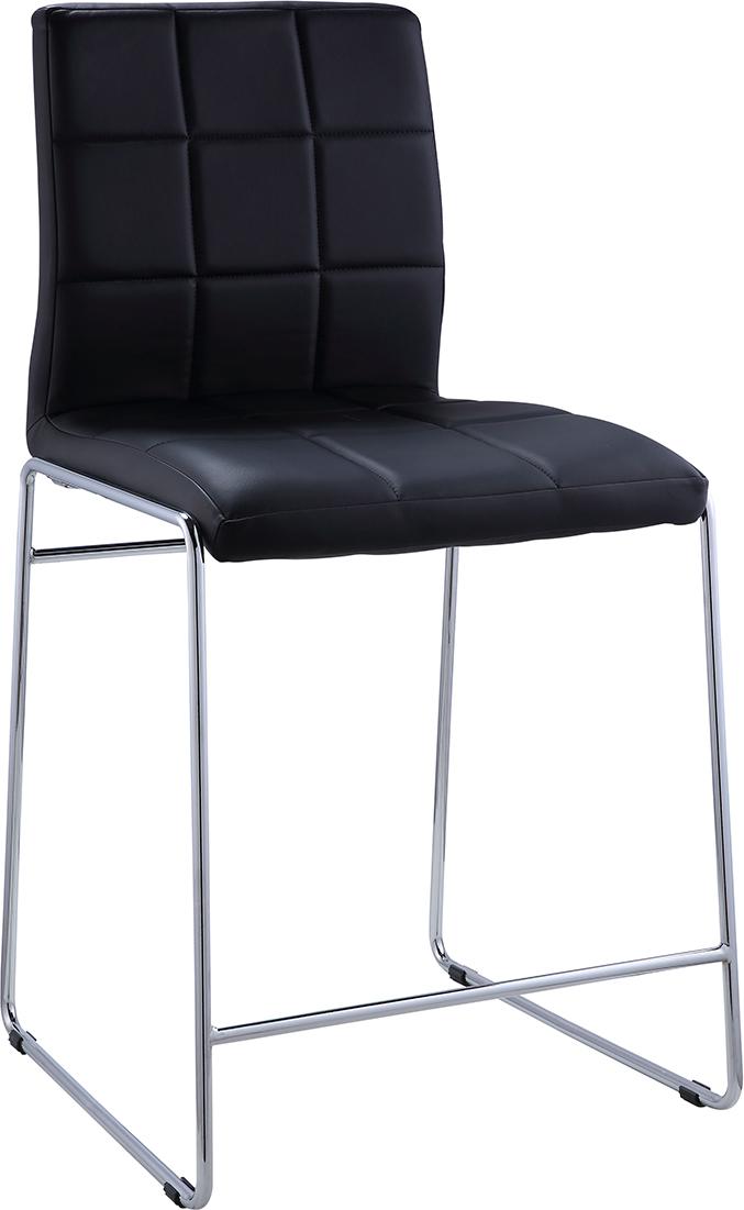 Acme Gordie Sled Metal Shape Counter Height Chair - Black Vinyl/Chrome