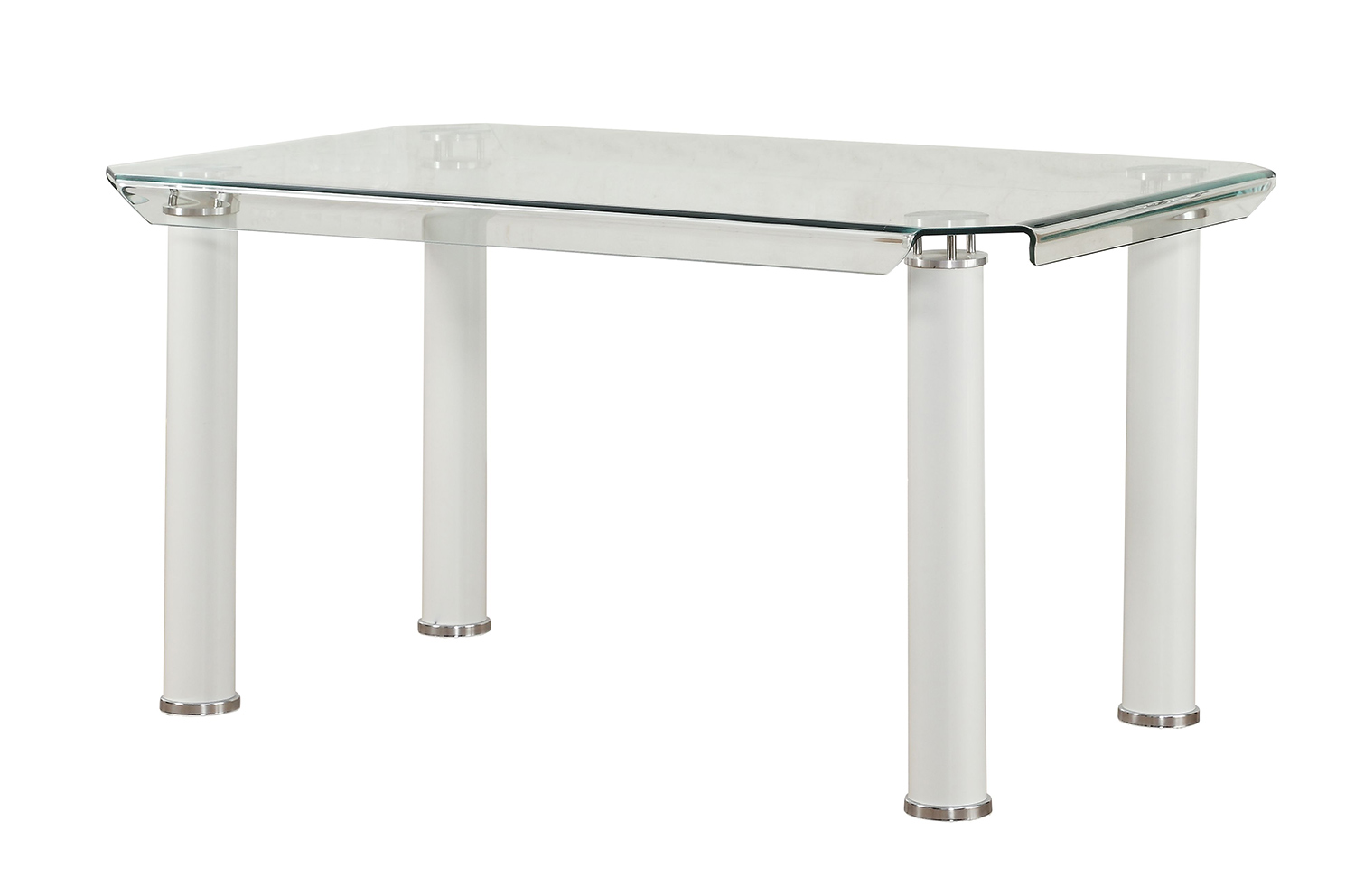 Acme Gordie Dining Table - White/Clear Glass