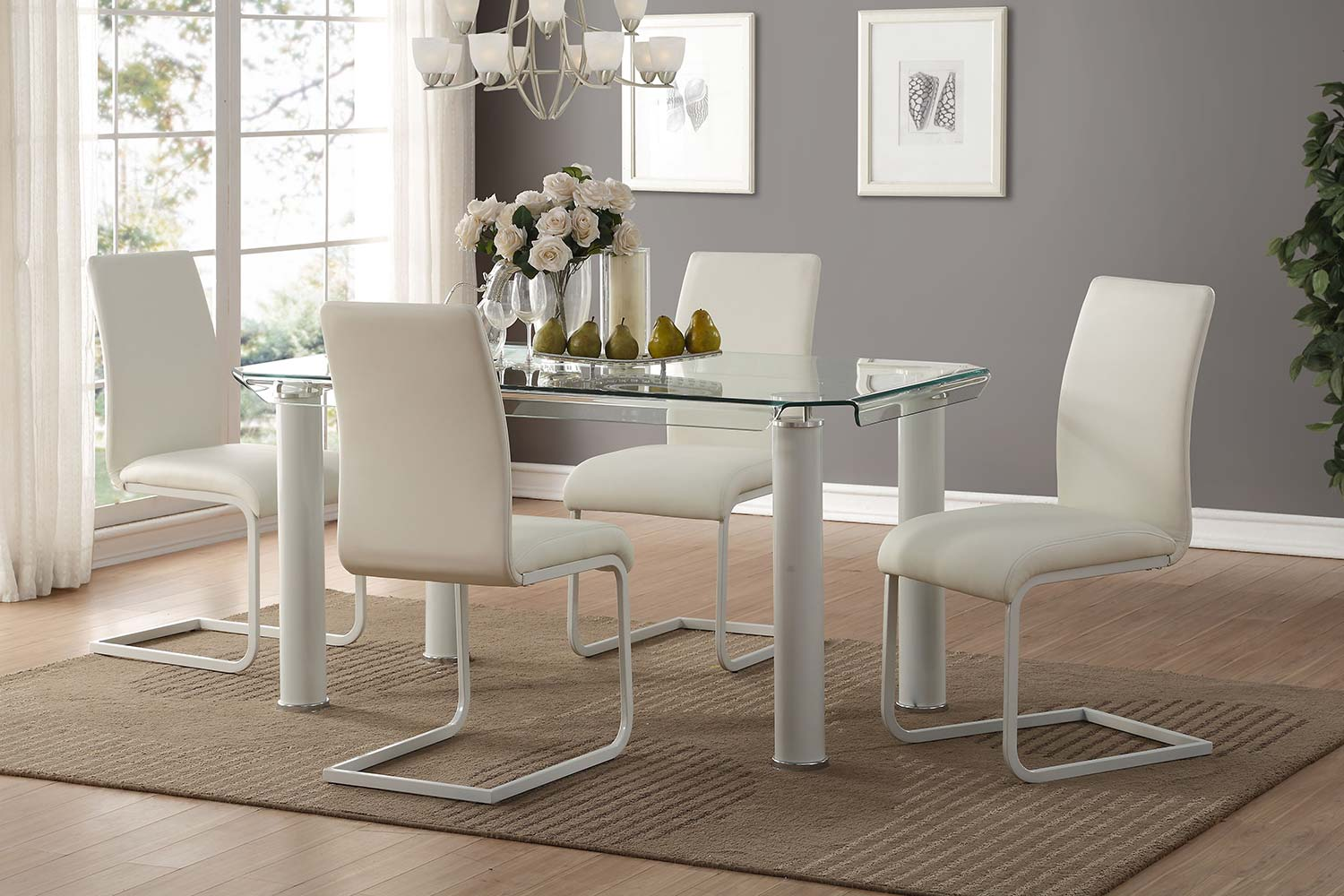 Acme Gordie C Metal Shape Dining Set - White/Clear Glass
