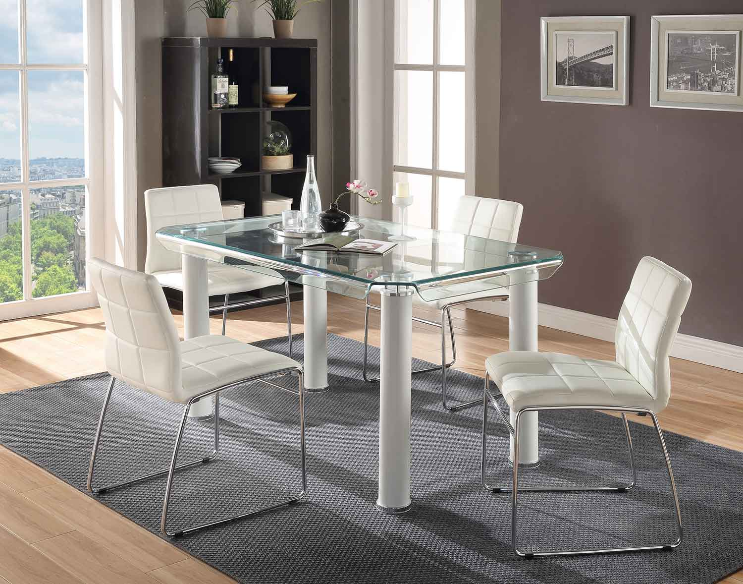 Acme Gordie Curved Metal Shape Dining Set - White/Clear Glass/Chrome