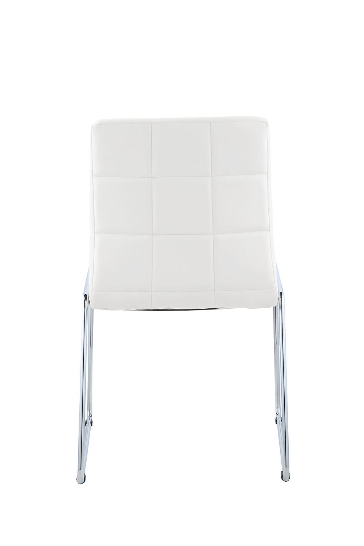 Acme Gordie Sled Metal Shape Side Chair - White Vinyl/Chrome