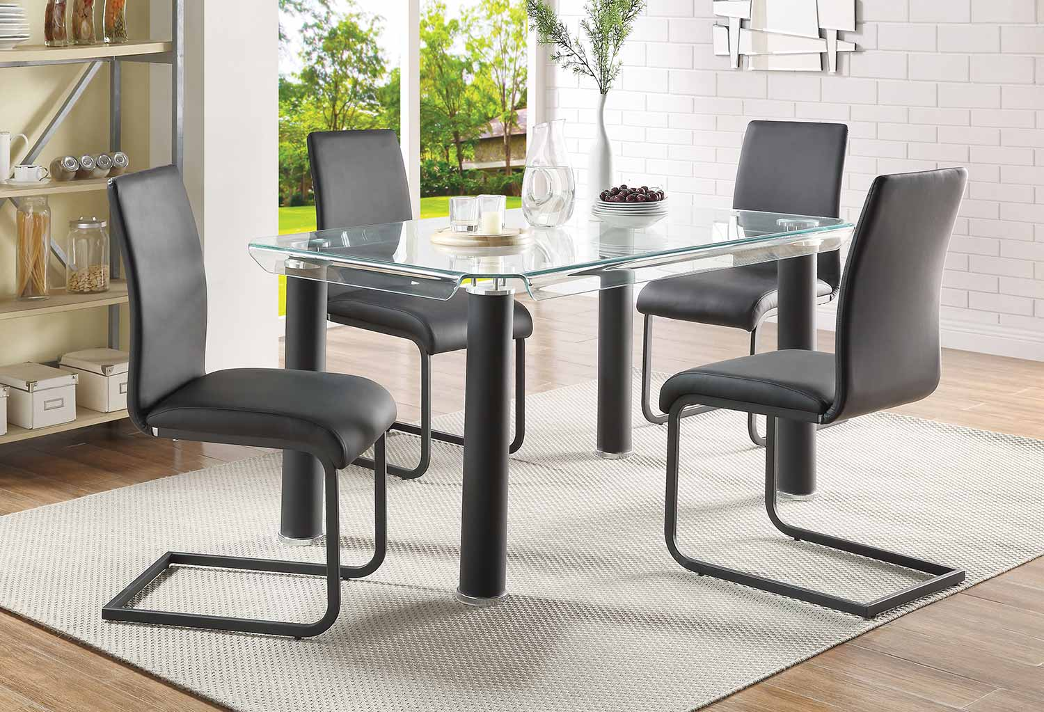 Acme Gordie C Metal Shape Dining Set - Black/Clear Glass