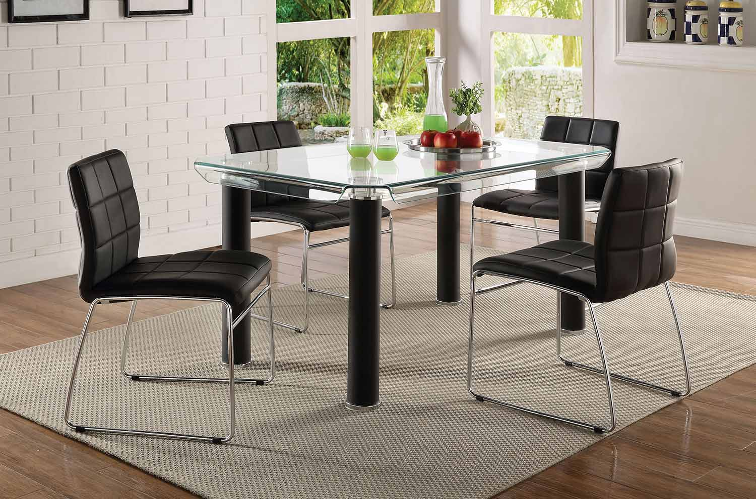 Acme Gordie Curved Metal Shape Dining Set - Black/Clear Glass/Chrome