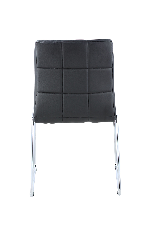 Acme Gordie Sled Metal Shape Side Chair - Black Vinyl/Chrome