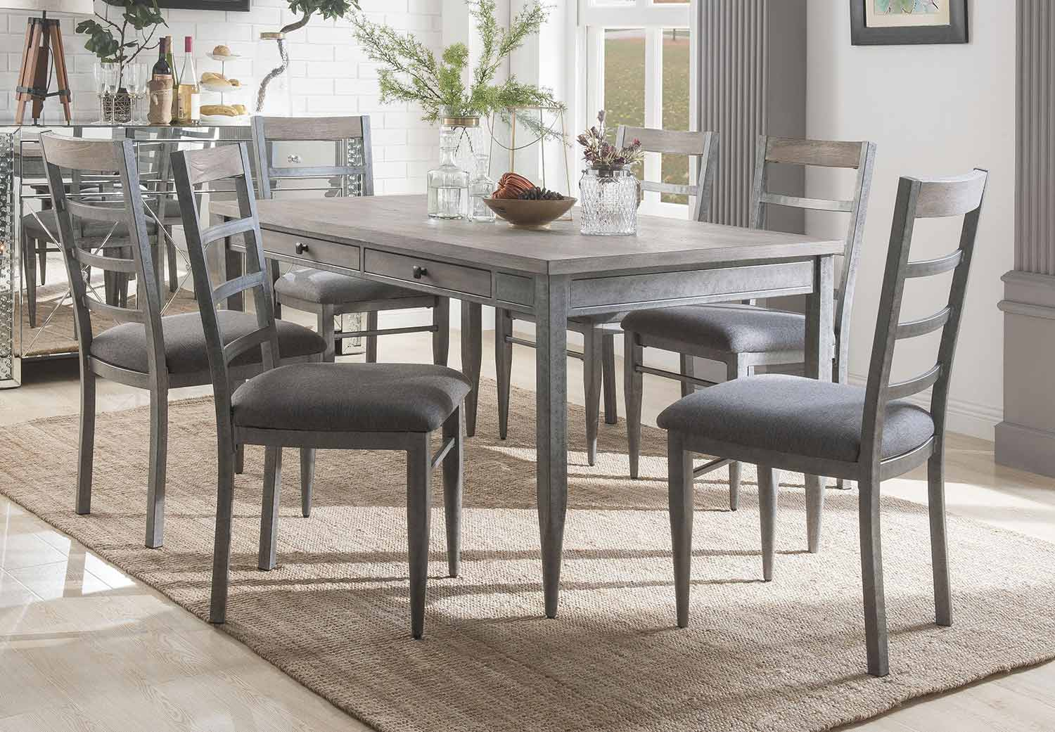 Acme Ornat Dining Set - Gray Oak/Antique Gray