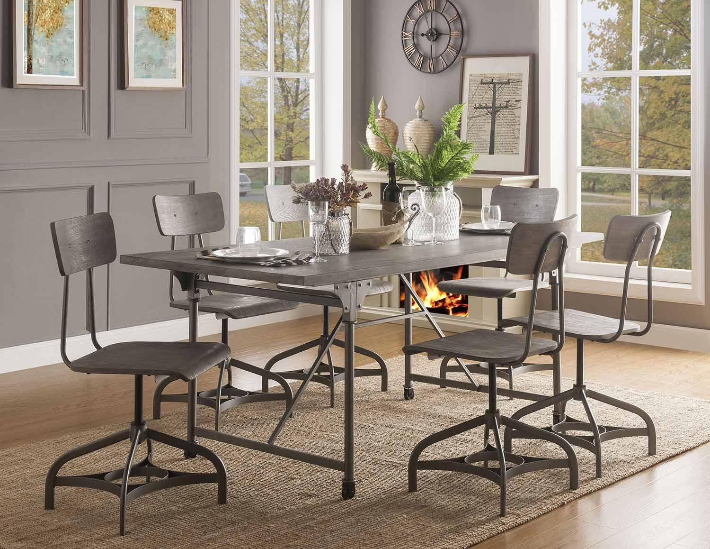 Acme Jonquil Dining Set - Gray Oak/Sandy Gray