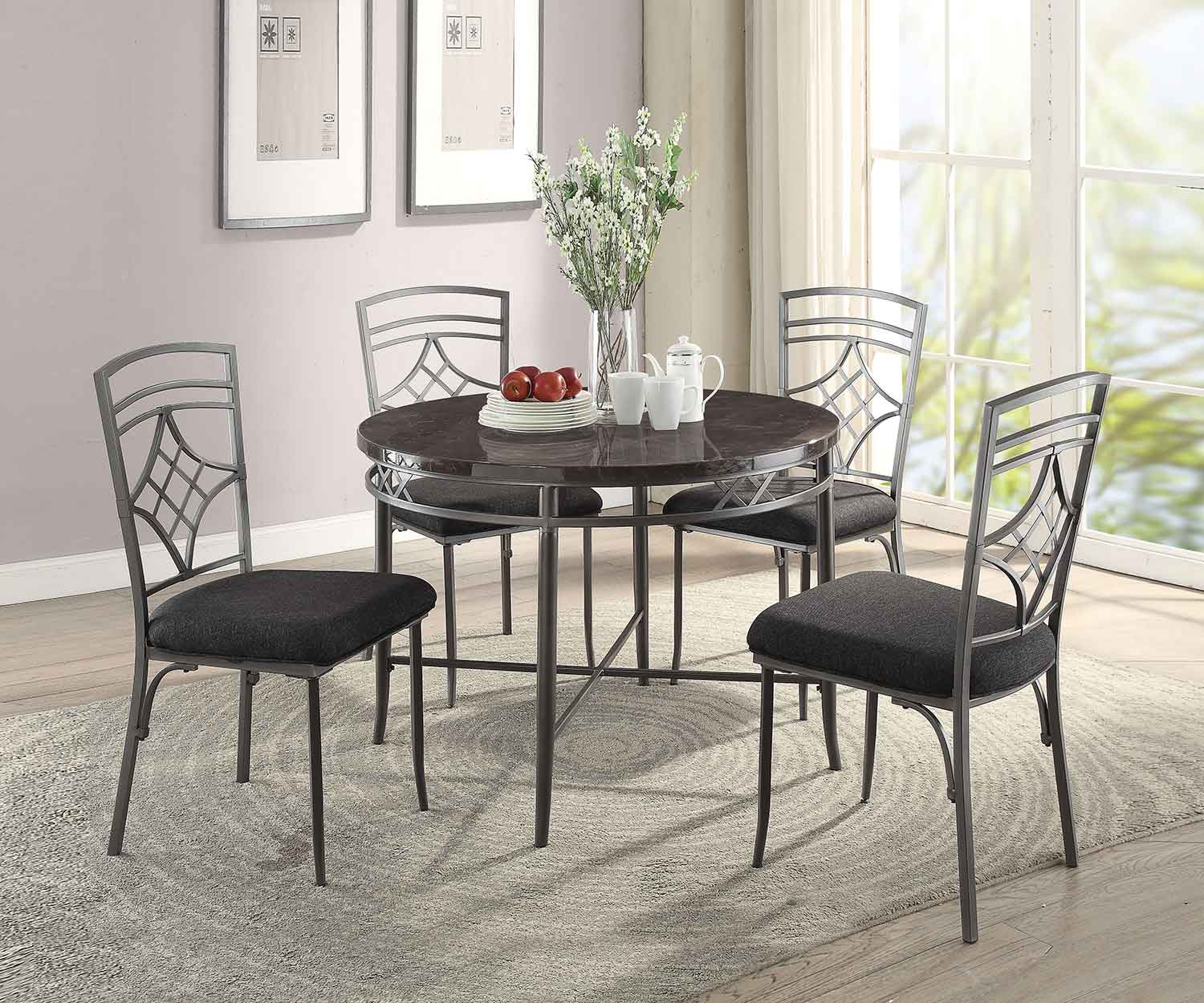 Acme Burnett Dining Set - Faux Marble/Dark Gray