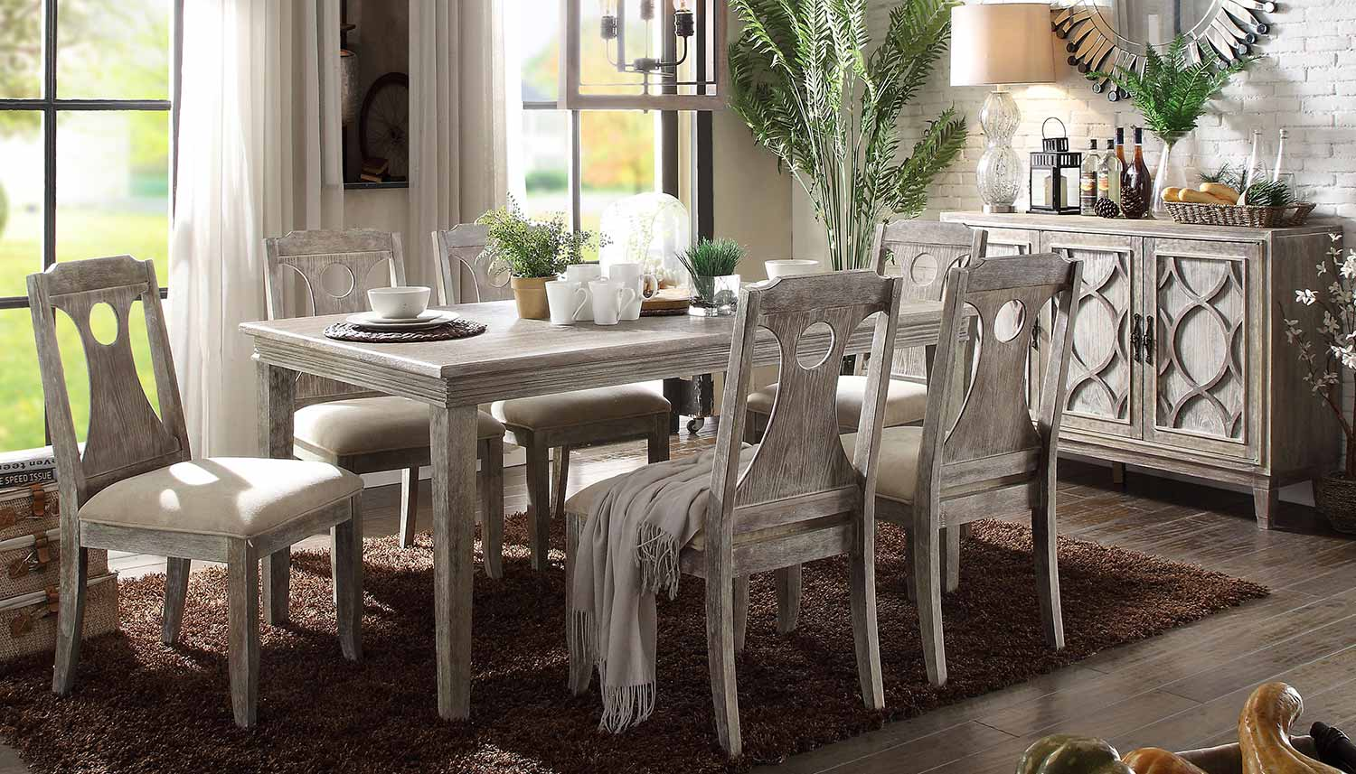 Acme Colette Dining Set - Reclaimed Gray Oak