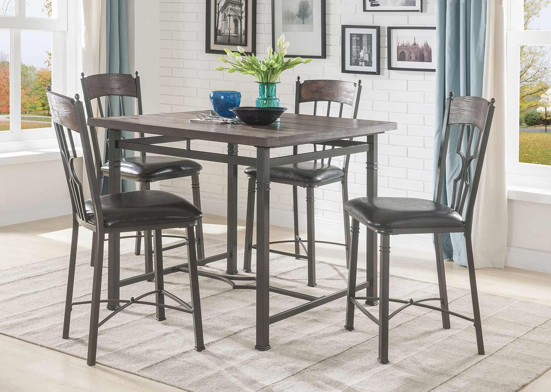 Acme LynLee Counter Height Dining Set - Weathered Dark Oak/Dark Bronze