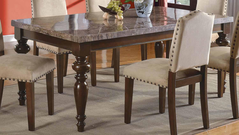 Acme Bandele Dining Table - Emparedora Gray Marble/Walnut