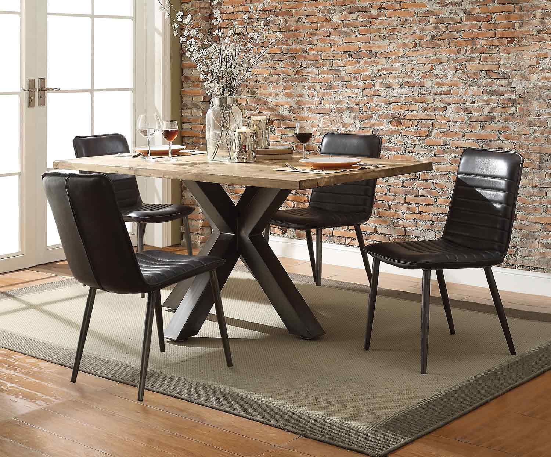 Acme Hosmer Dining Set - Oak/Antique Black