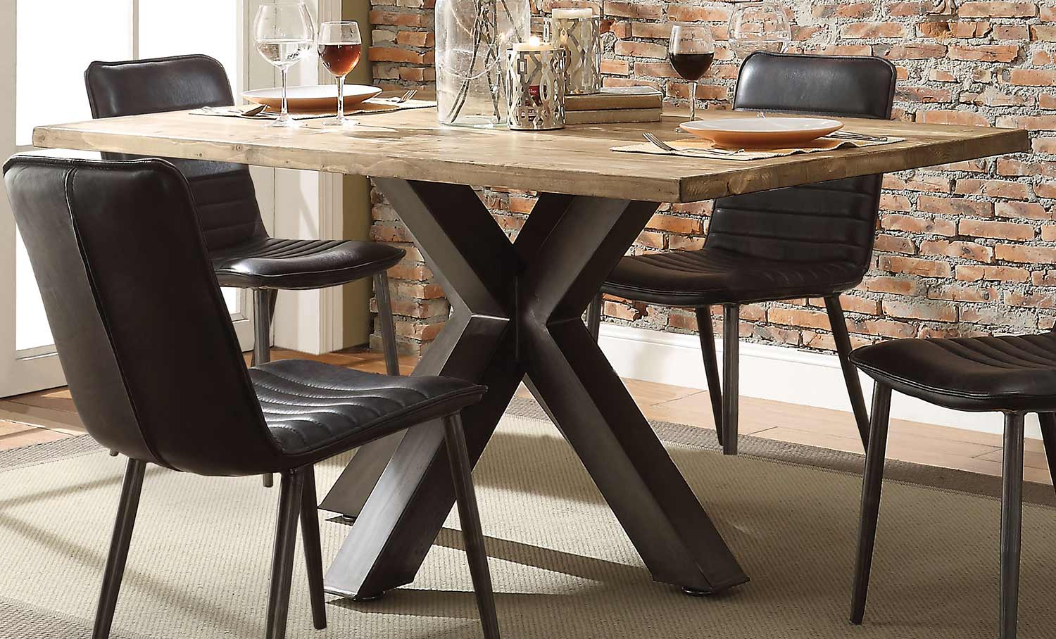 Acme Hosmer Dining Table - Oak/Antique Black