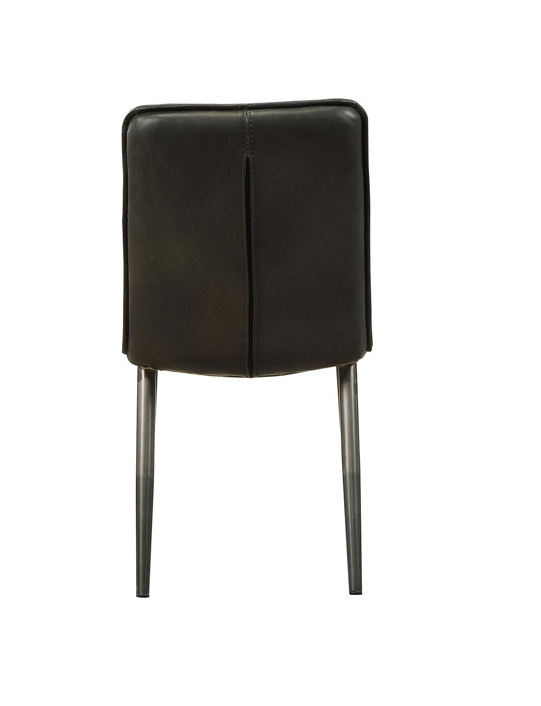 Acme Hosmer Side Chair - Black Top Grain Leather/Antique Black