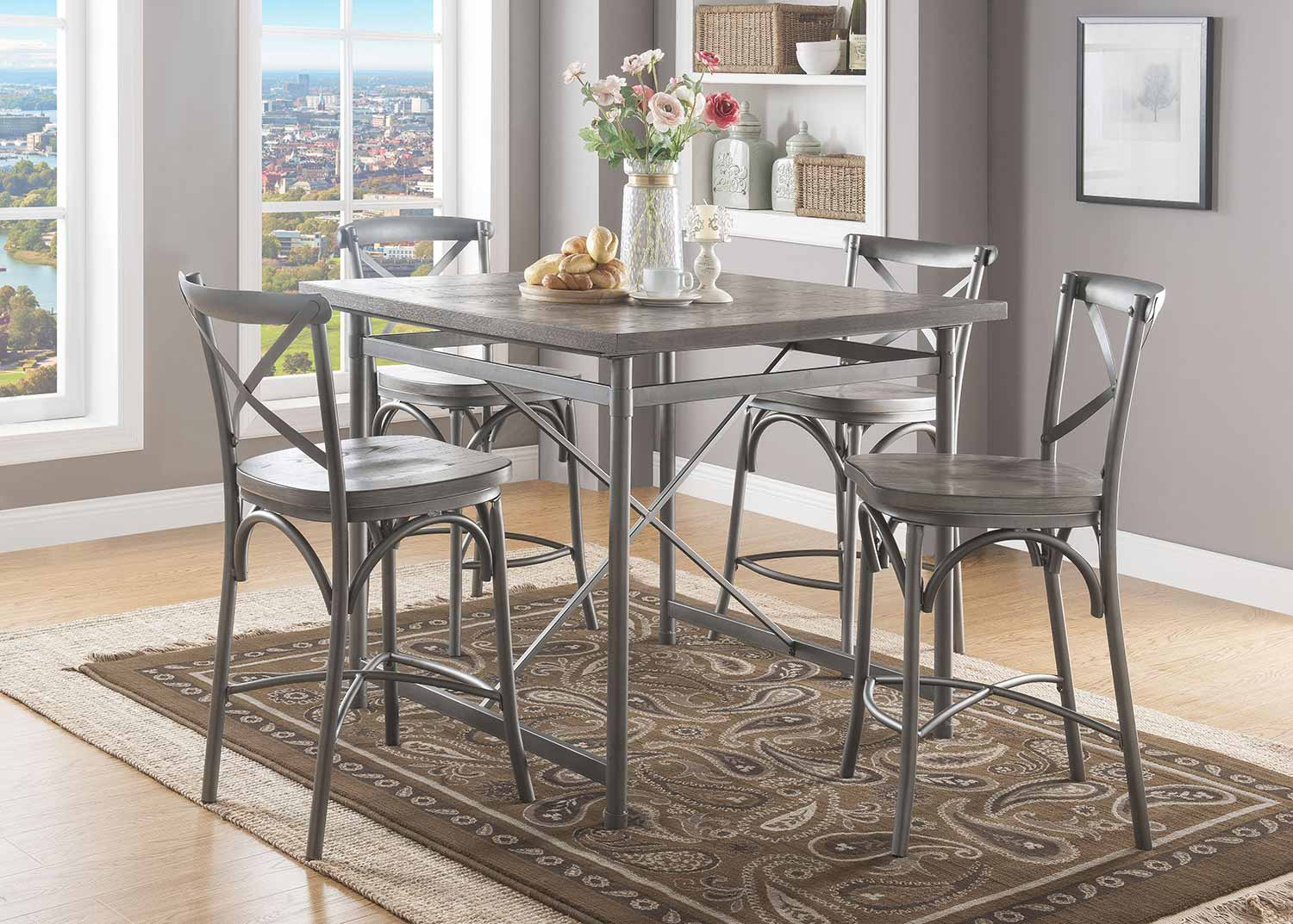 Acme Kaelyn II Counter Height Dining Set - Gray Oak/Sandy Gray