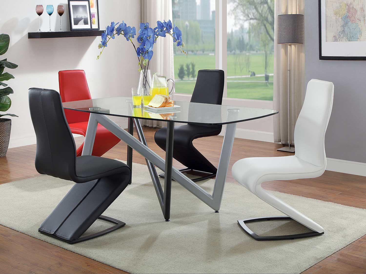 Acme Hassel Dining Set - Silver/Gunmetal/Clear Glass
