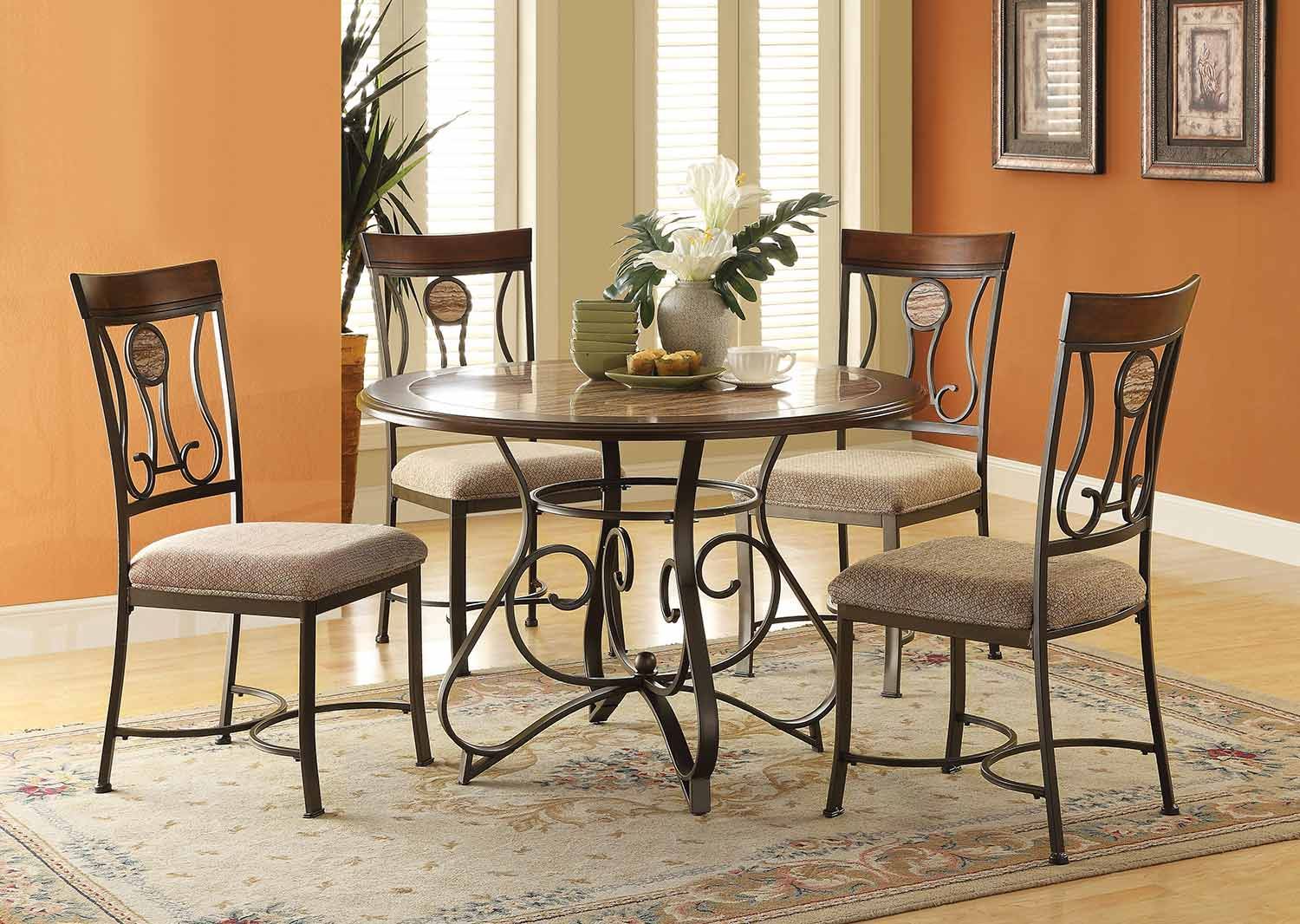 Acme Barrie Round Dining Set - Faux Marble/Cherry Oak/Dark Bronze