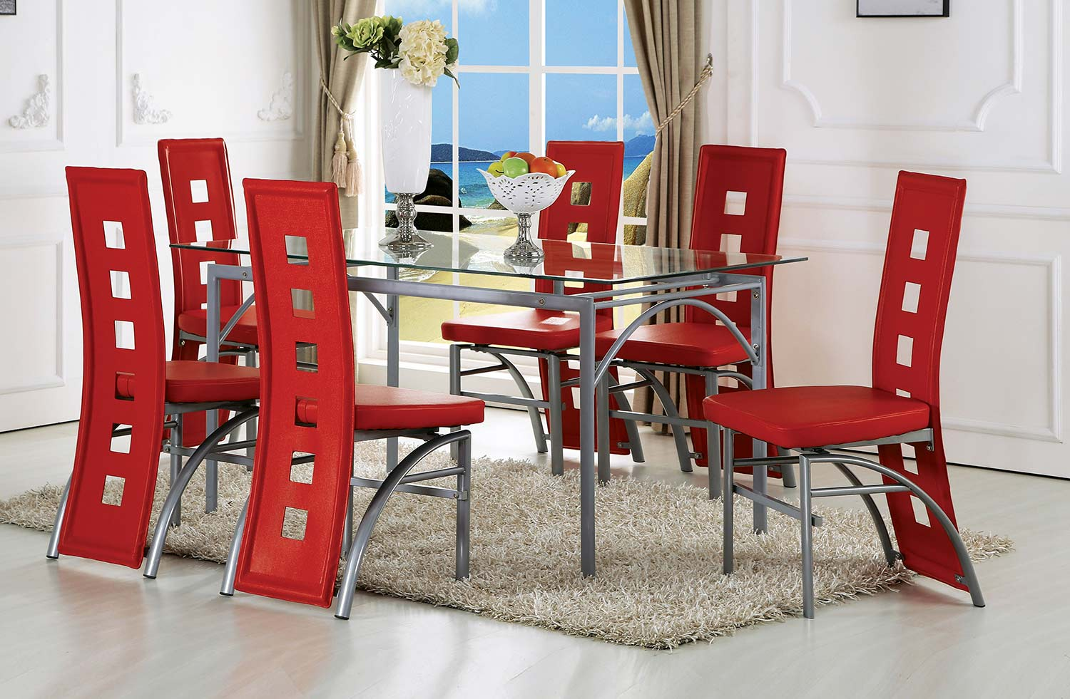 Acme Kathie Dining Set - Red Vinyl/Silver