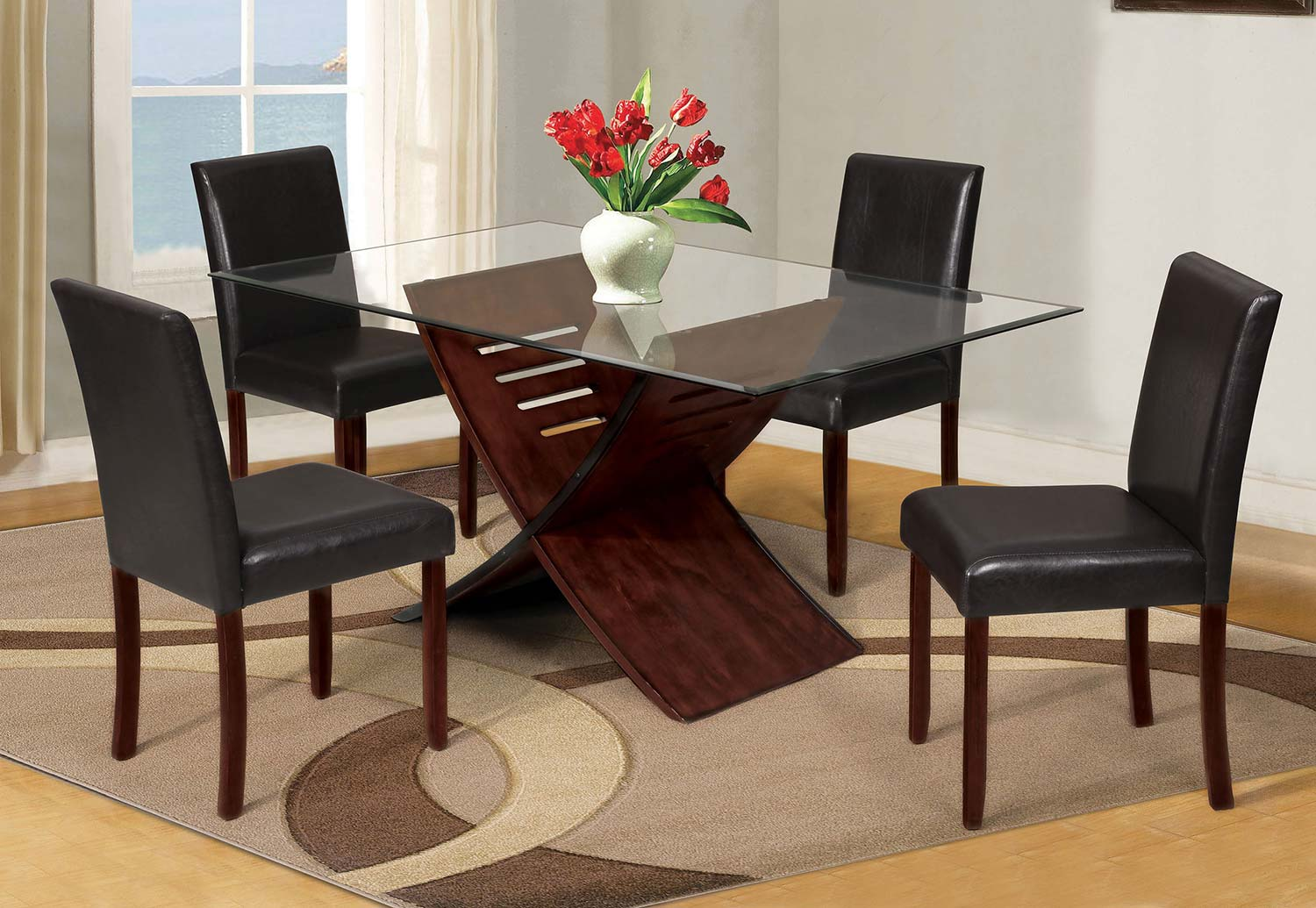 Acme Trava Dining Set - Cherry/Clear Glass