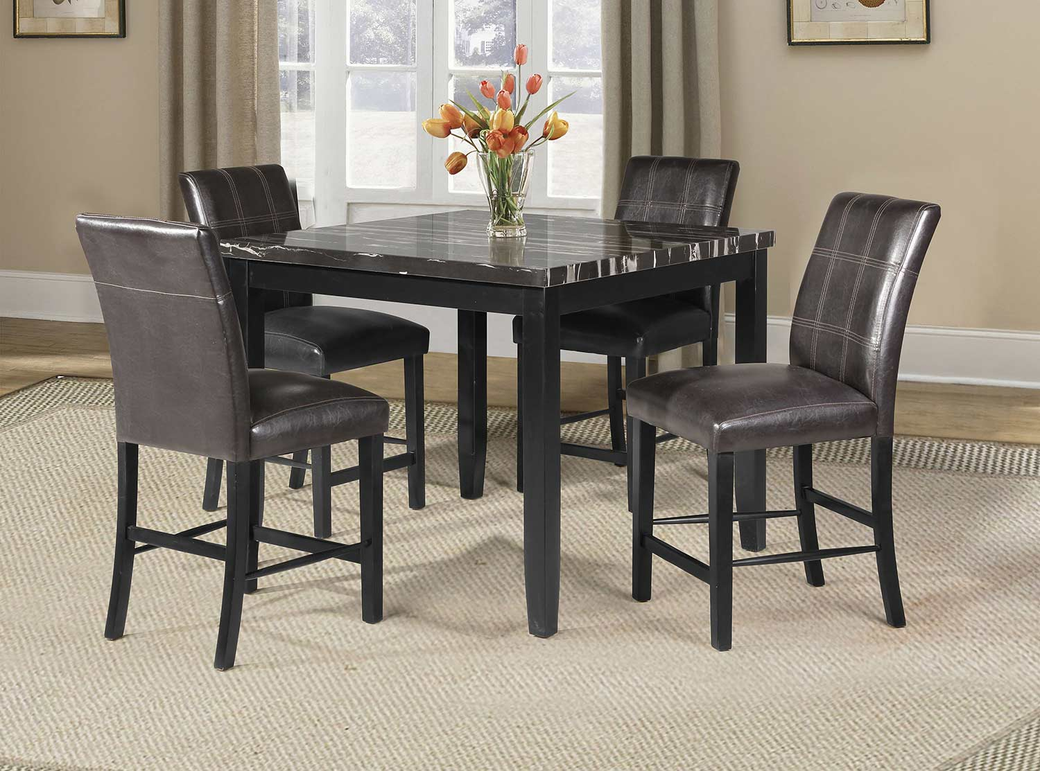 Acme Blythe Counter Height Dining Set - Faux Marble/Black