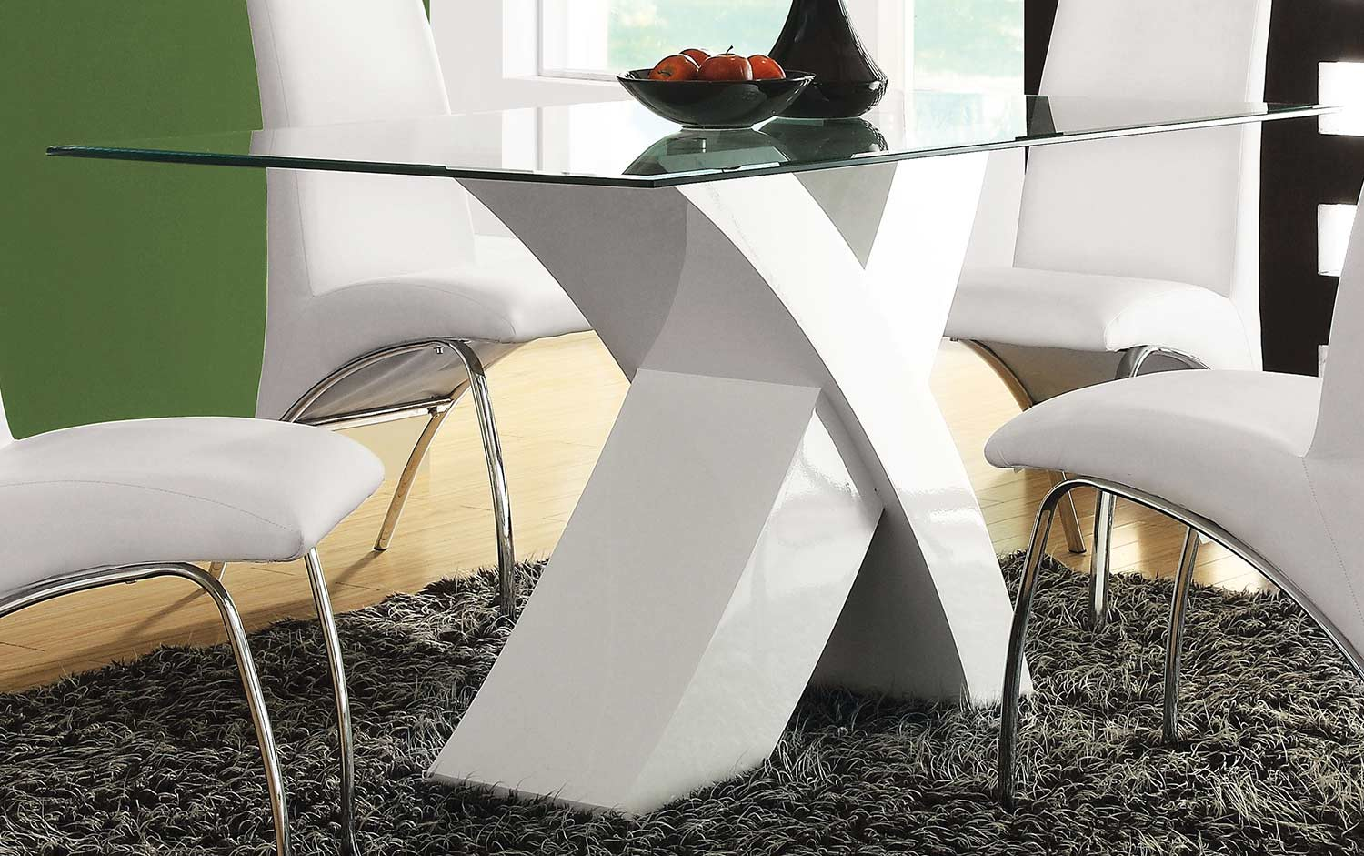 Acme Pervis Dining Table - White/Clear Glass