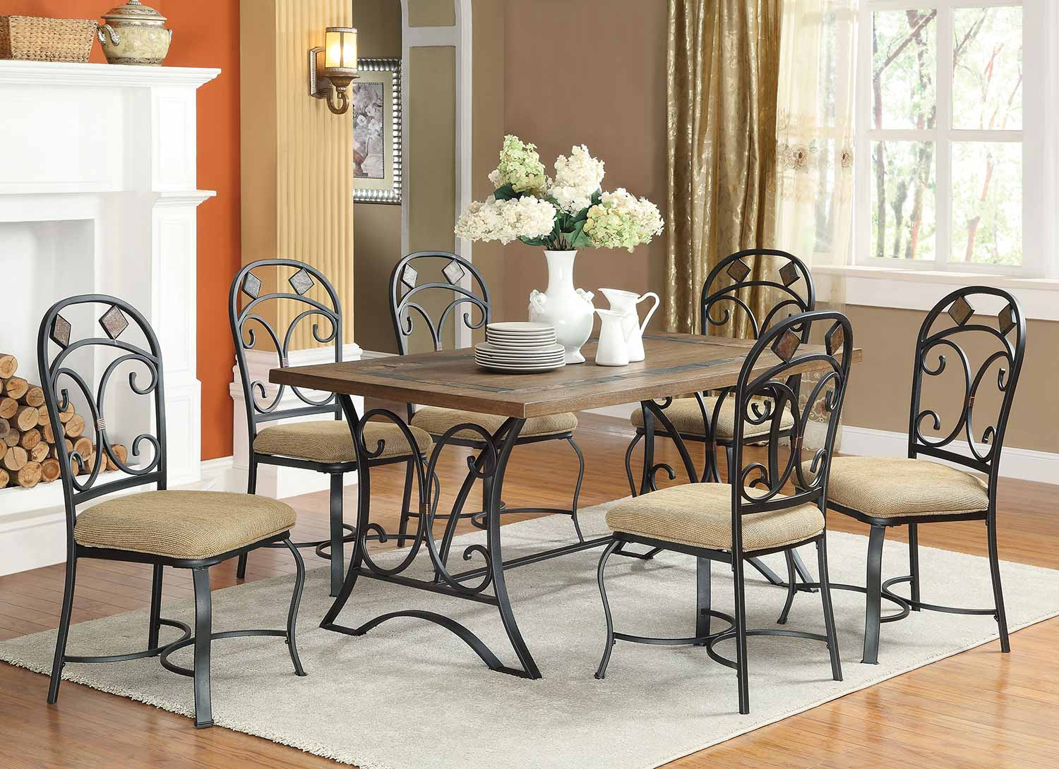 Acme Kiele Dining Set - Oak/Antique Black