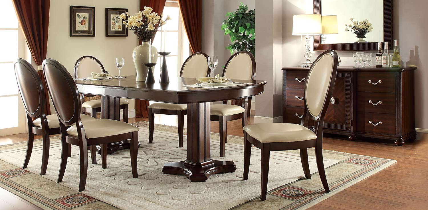 Acme Balint Dining Set with Double Pedestal - Cream Vinyl/Cherry