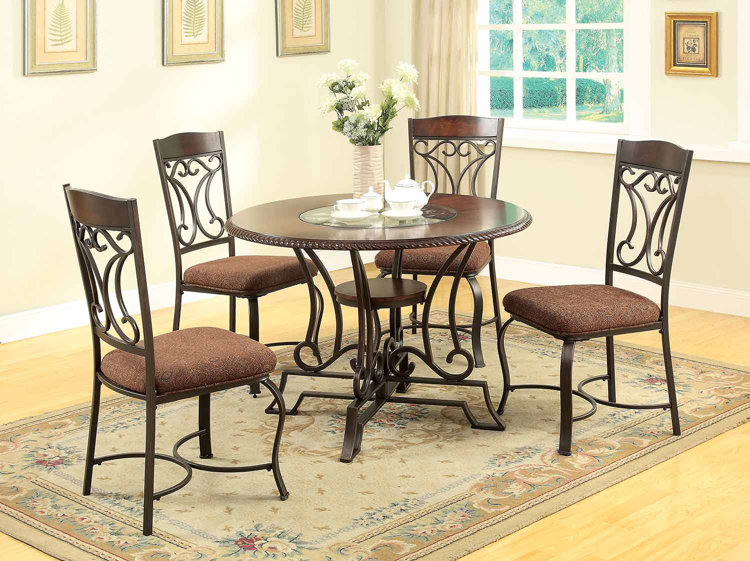 Acme Jaimey Dining Set - Oak/Antique Black
