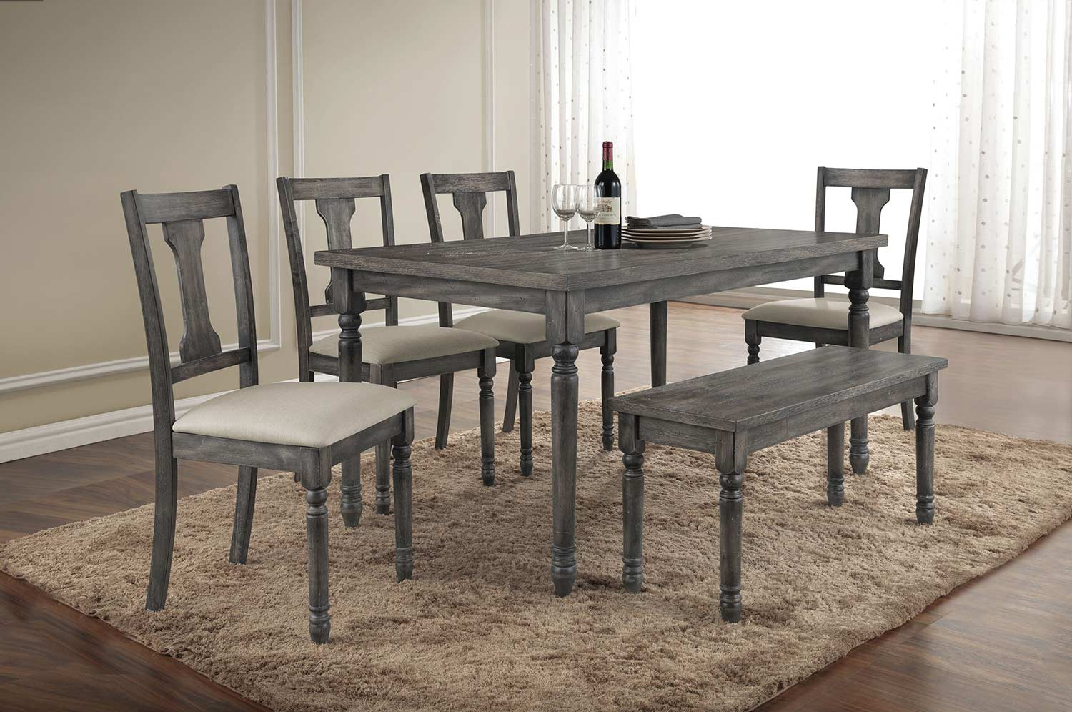 Acme Wallace Dining Set - Weathered Gray