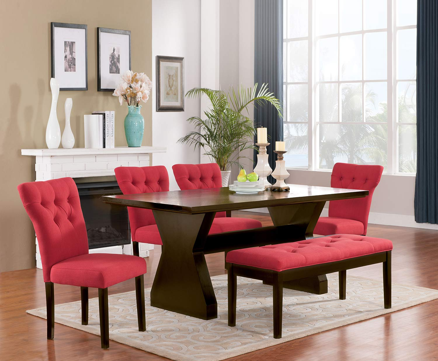 Acme Effie Dining Set - Red Linen/Walnut