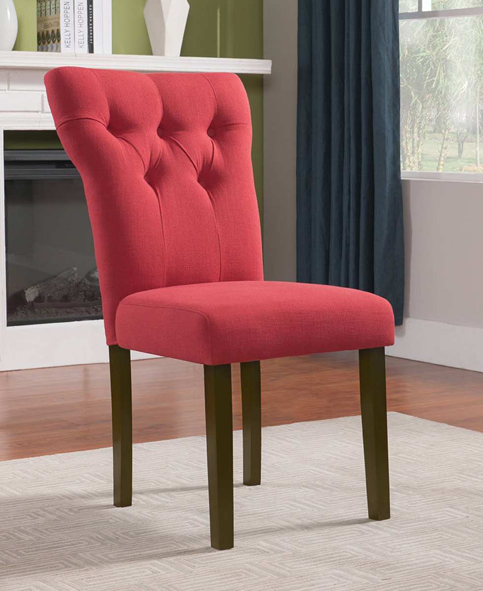 Acme Effie Side Chair - Red Linen/Walnut