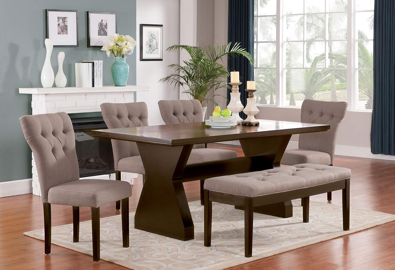 Acme Effie Dining Set - Light Brown Linen/Walnut