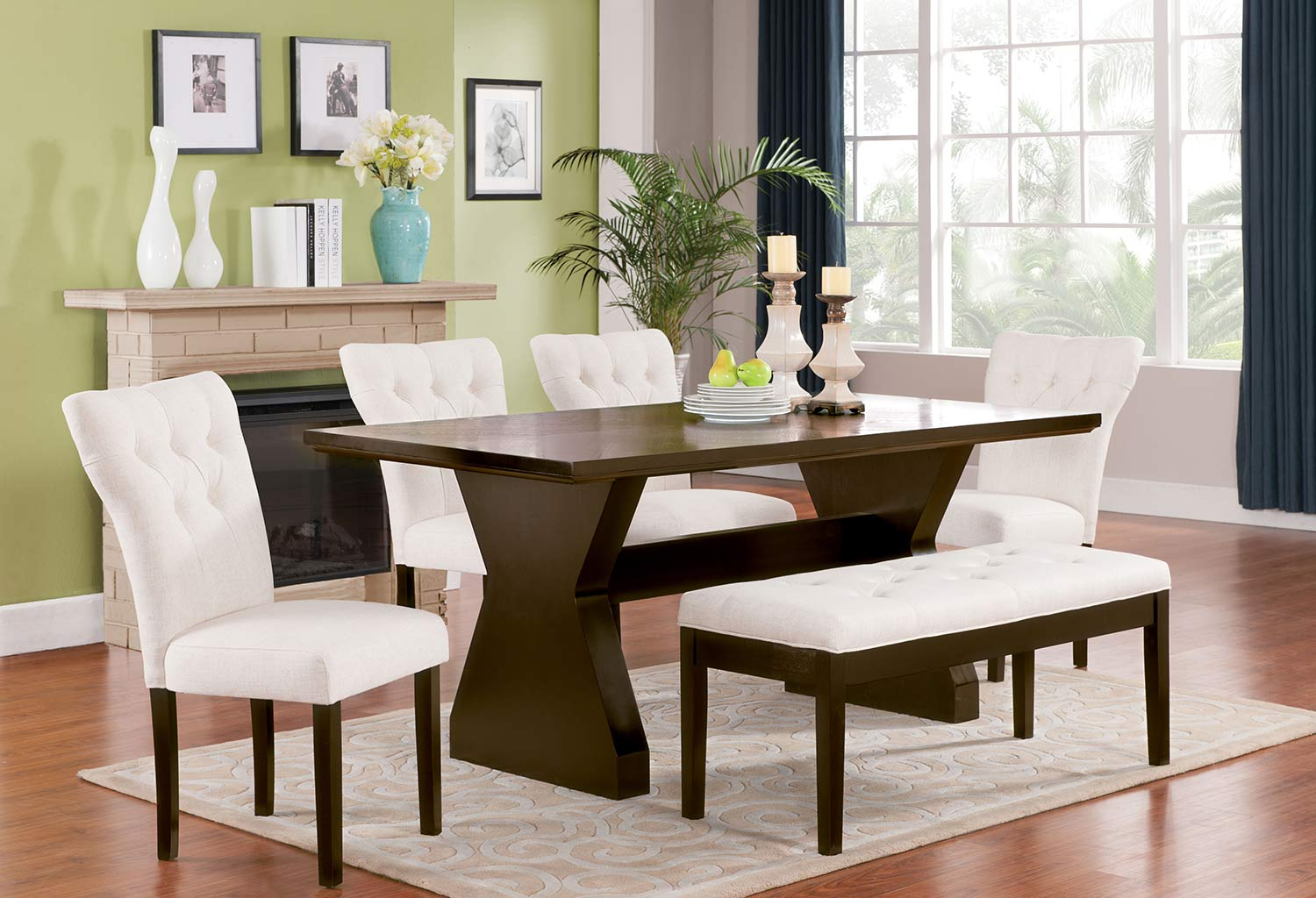 Acme Effie Dining Set - Beige Linen/Walnut