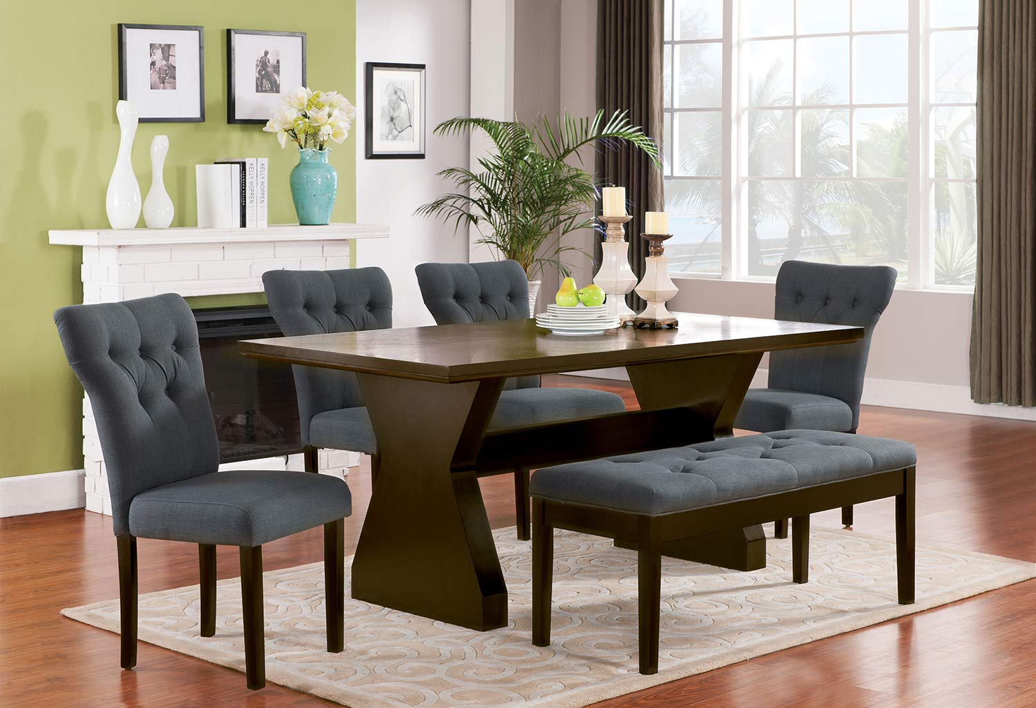 Acme Effie Dining Set - Gray Linen/Walnut
