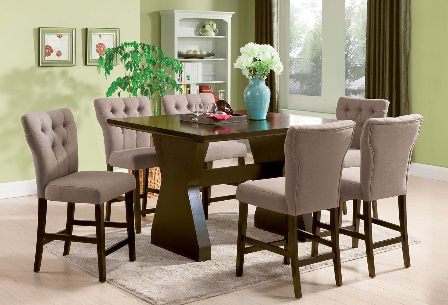 Acme Effie Counter Height Dining Set - Light Brown Linen/Walnut
