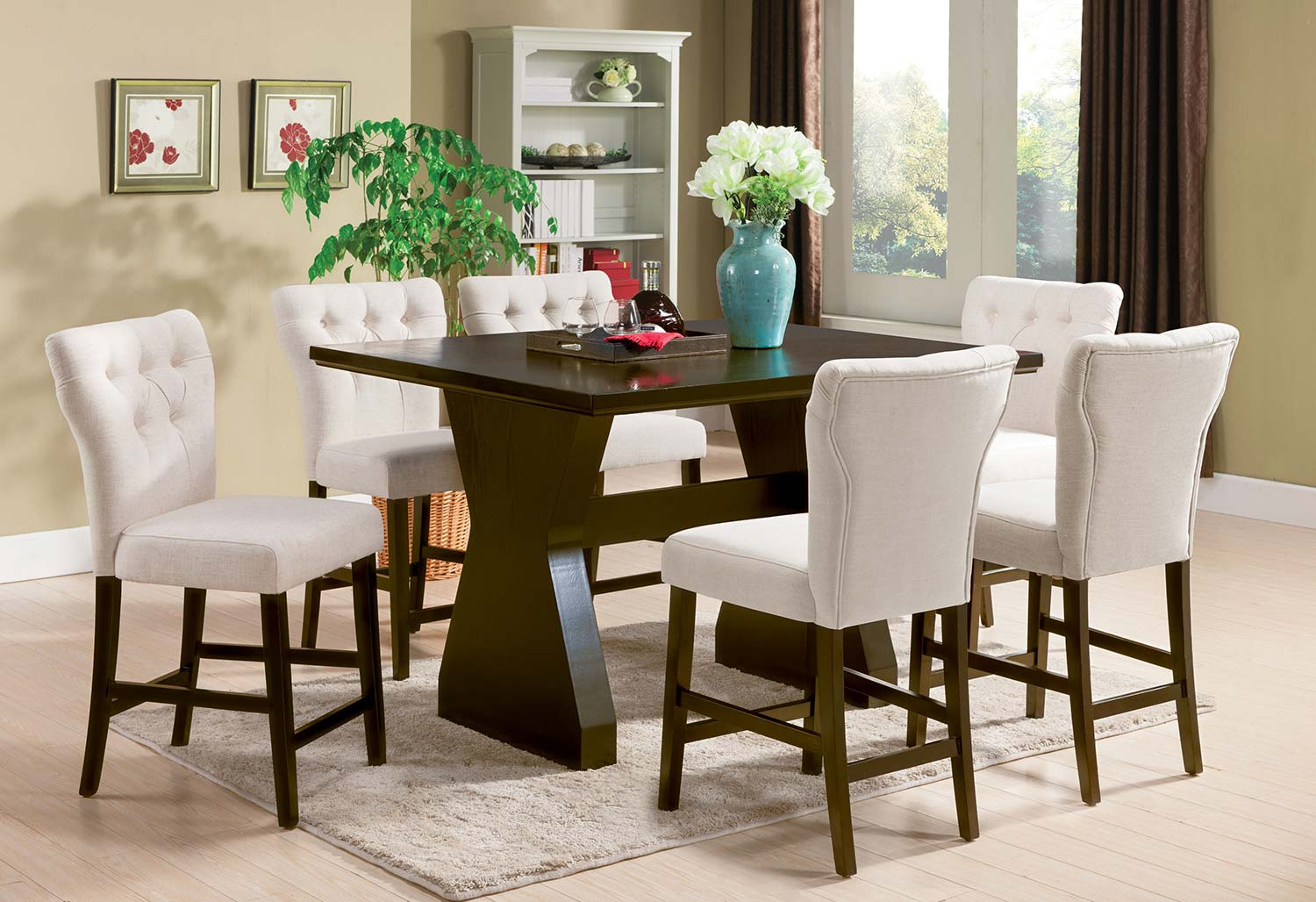 Acme Effie Counter Height Dining Set - Beige Linen/Walnut