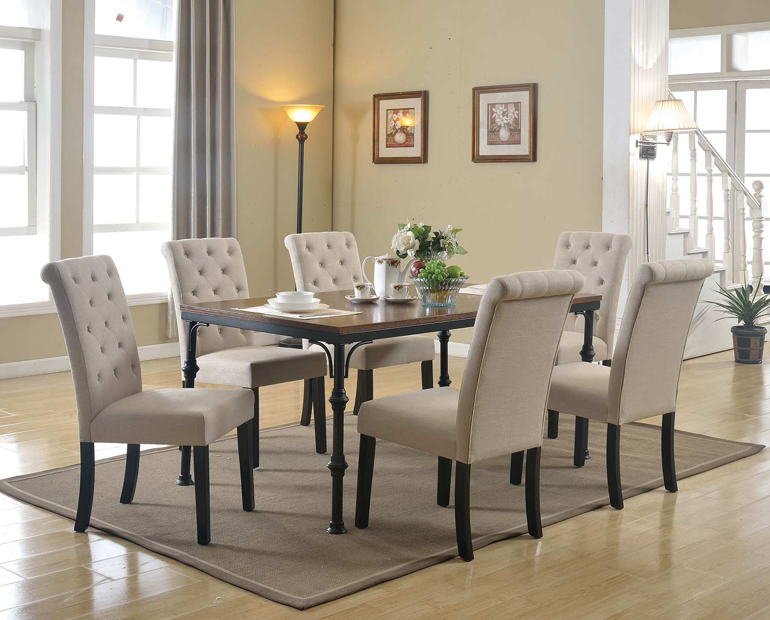 Acme Vriel Dining Set - Dark Oak/Black