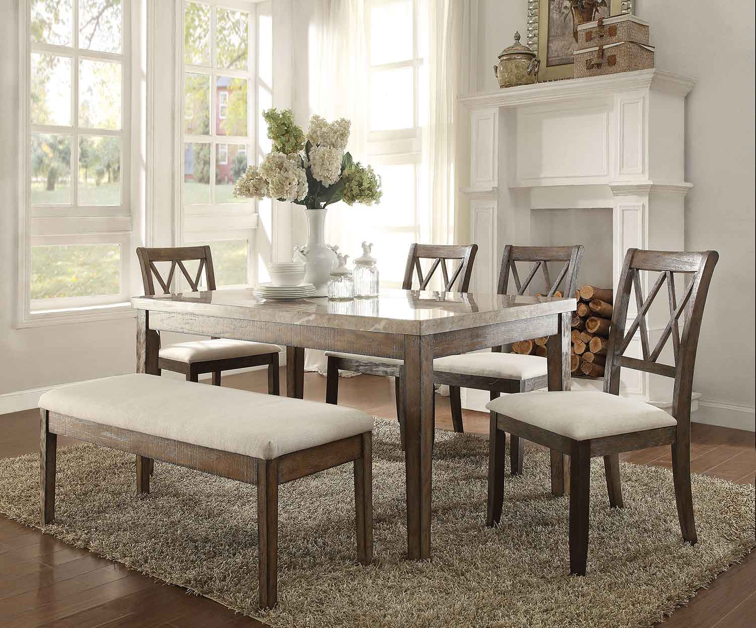 Acme Claudia Dining Set - White Marble/Salvage Brown