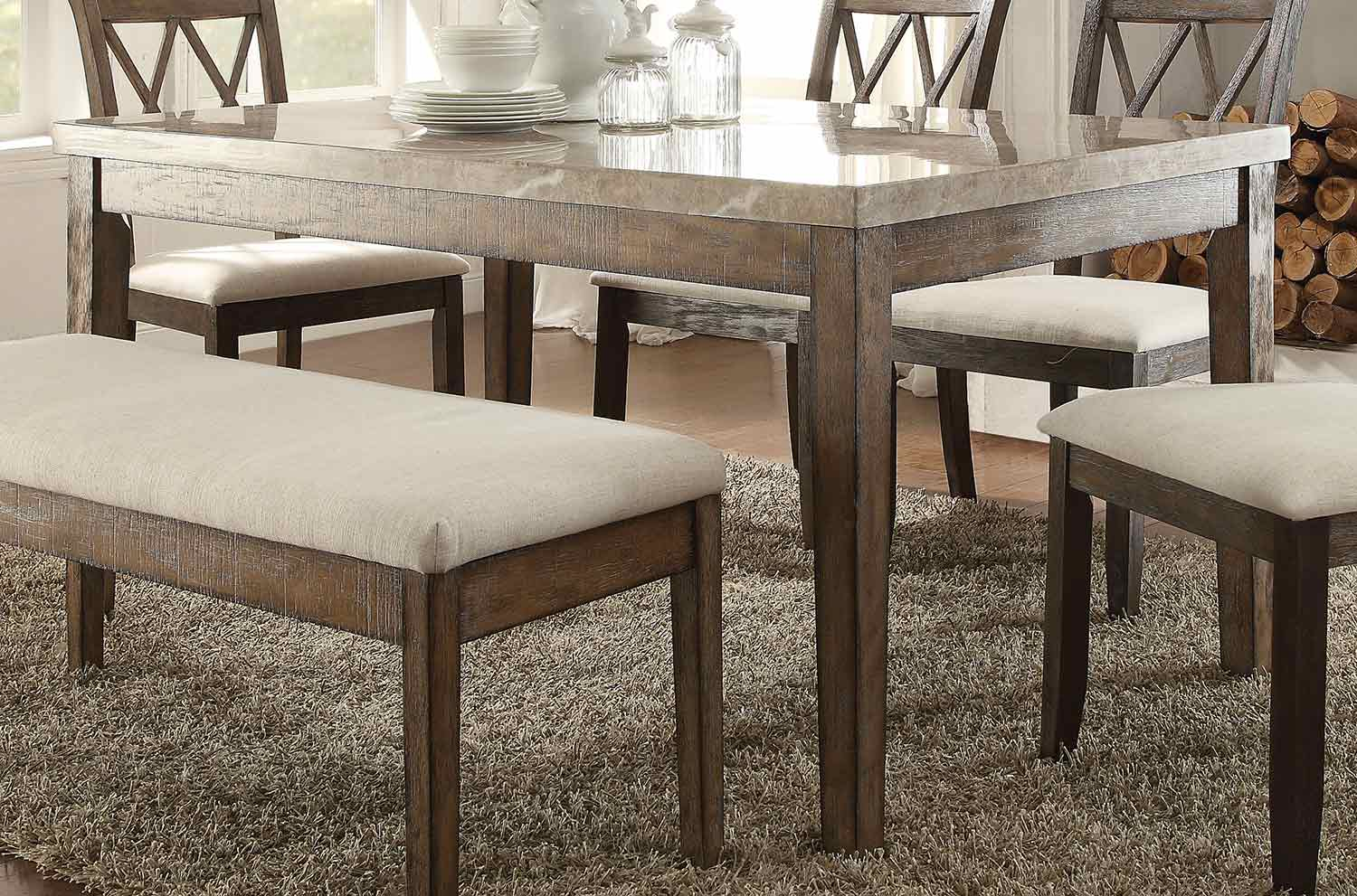Acme Claudia Dining Table - White Marble/Salvage Brown