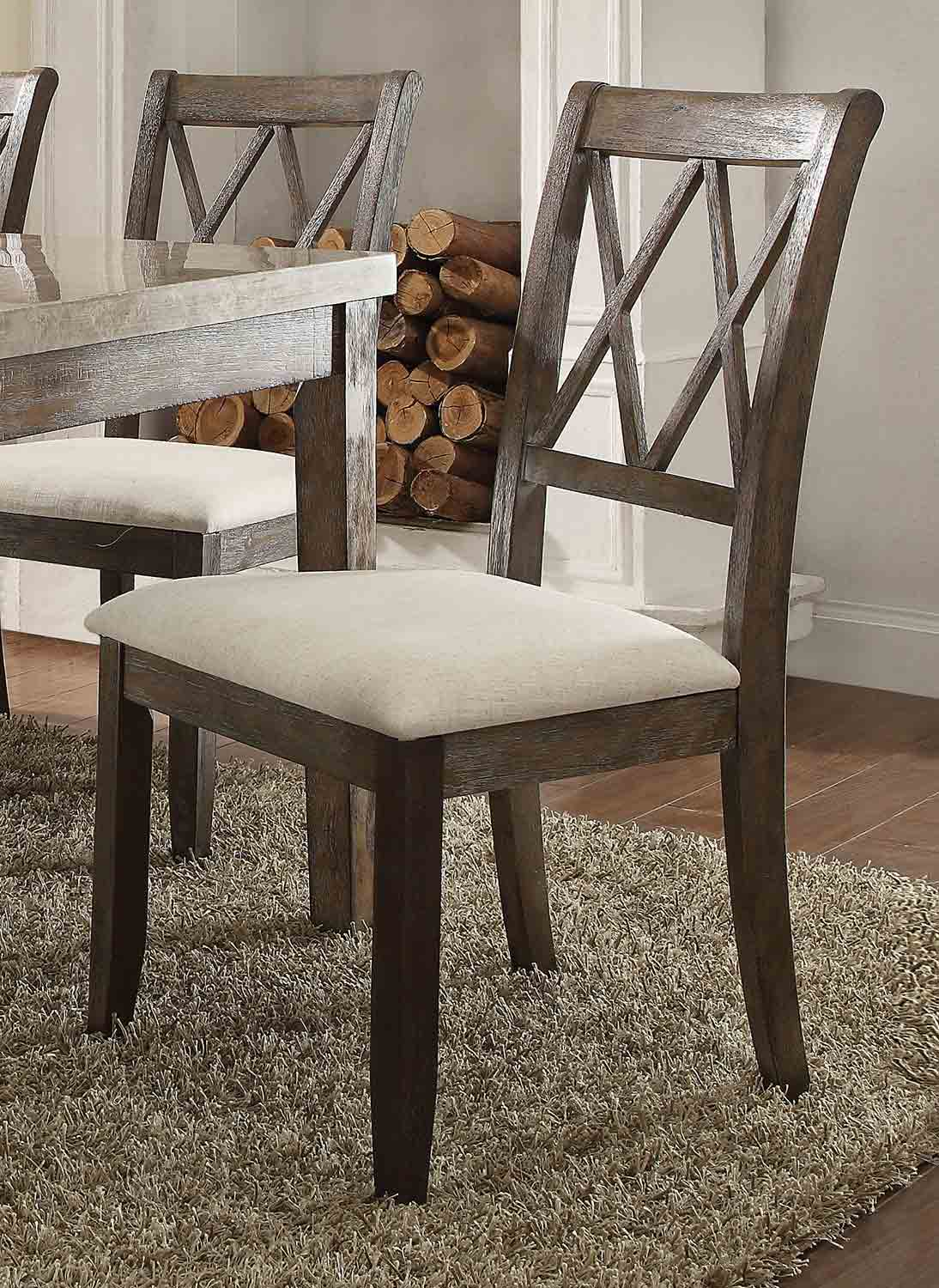 Acme Claudia Side Chair - Beige Linen/Salvage Brown