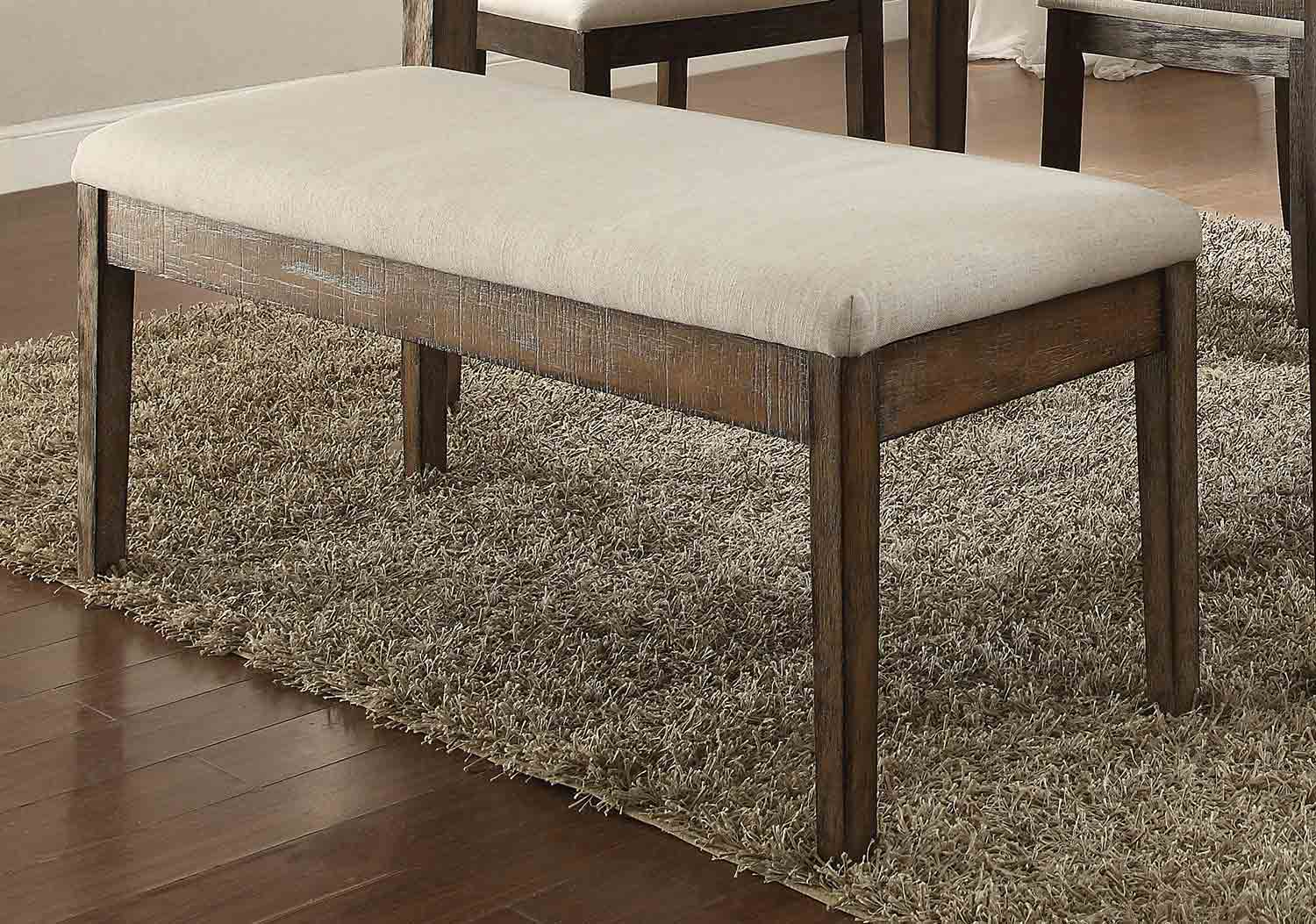 Acme Claudia Bench - Beige Linen/Salvage Brown