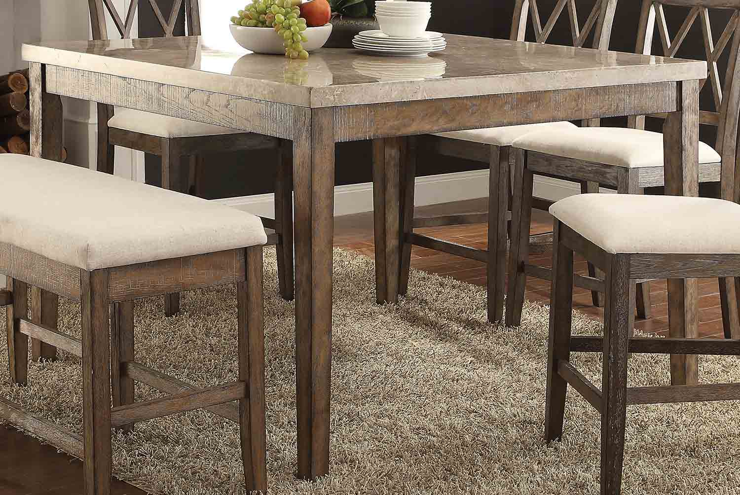 Acme Claudia Counter Height Table - White Marble/Salvage Brown
